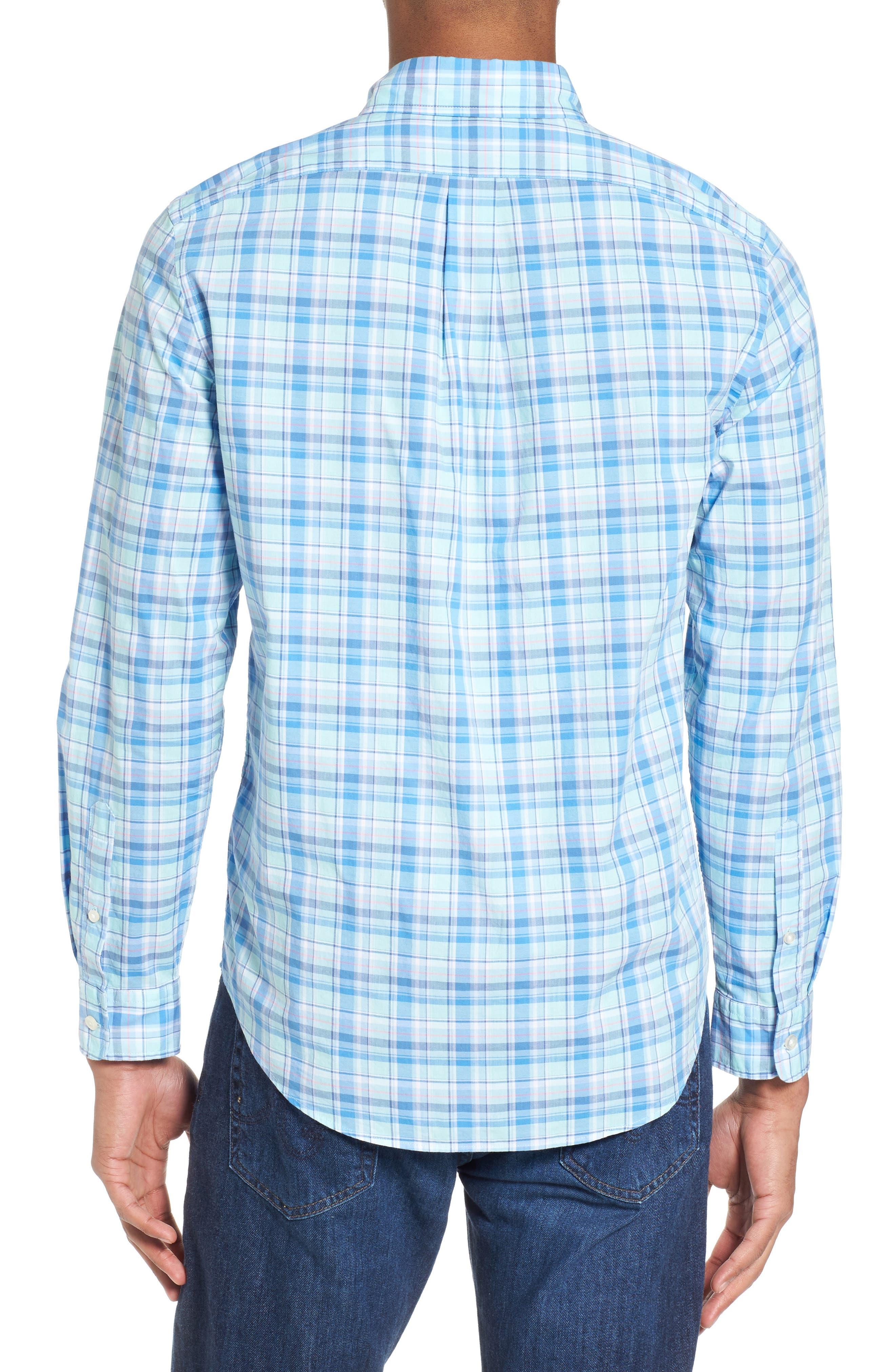 Murray Pine Island Slim Fit Plaid Sport Shirt,                             Alternate thumbnail 2, color,                             Sea Splash