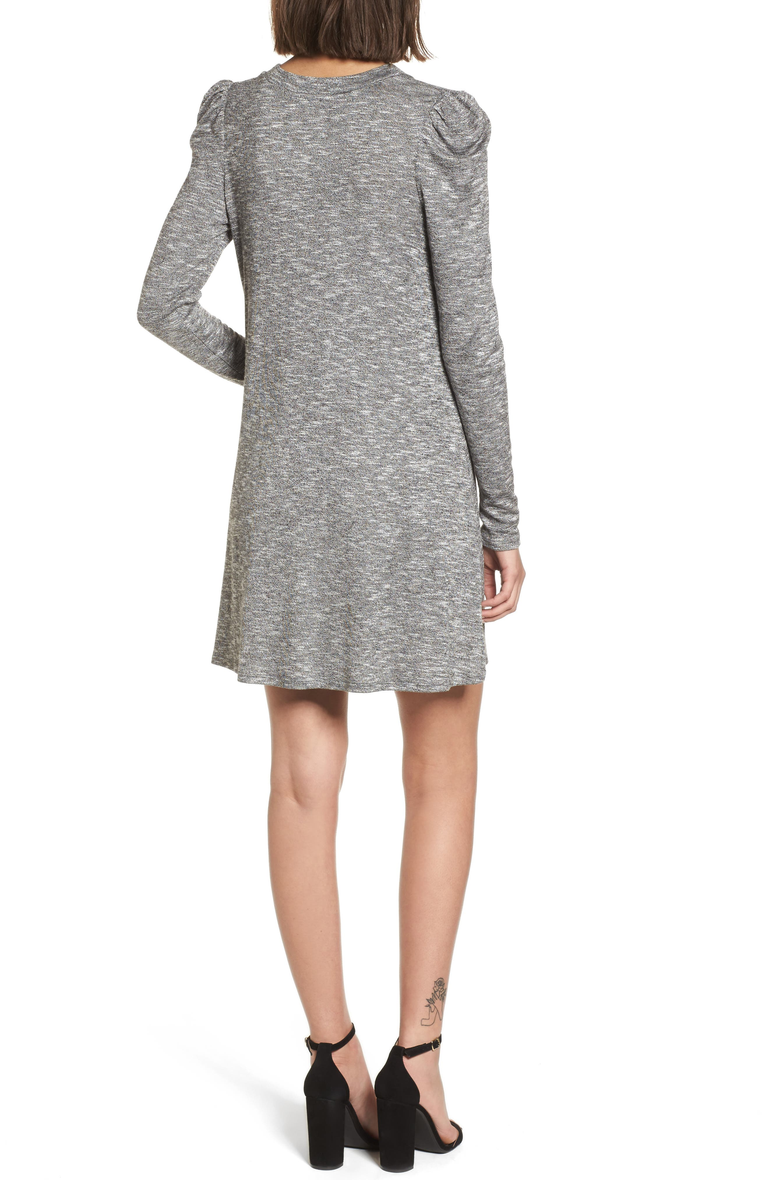 Knit Puff Shoulder Dress,                             Alternate thumbnail 2, color,                             Heather Grey