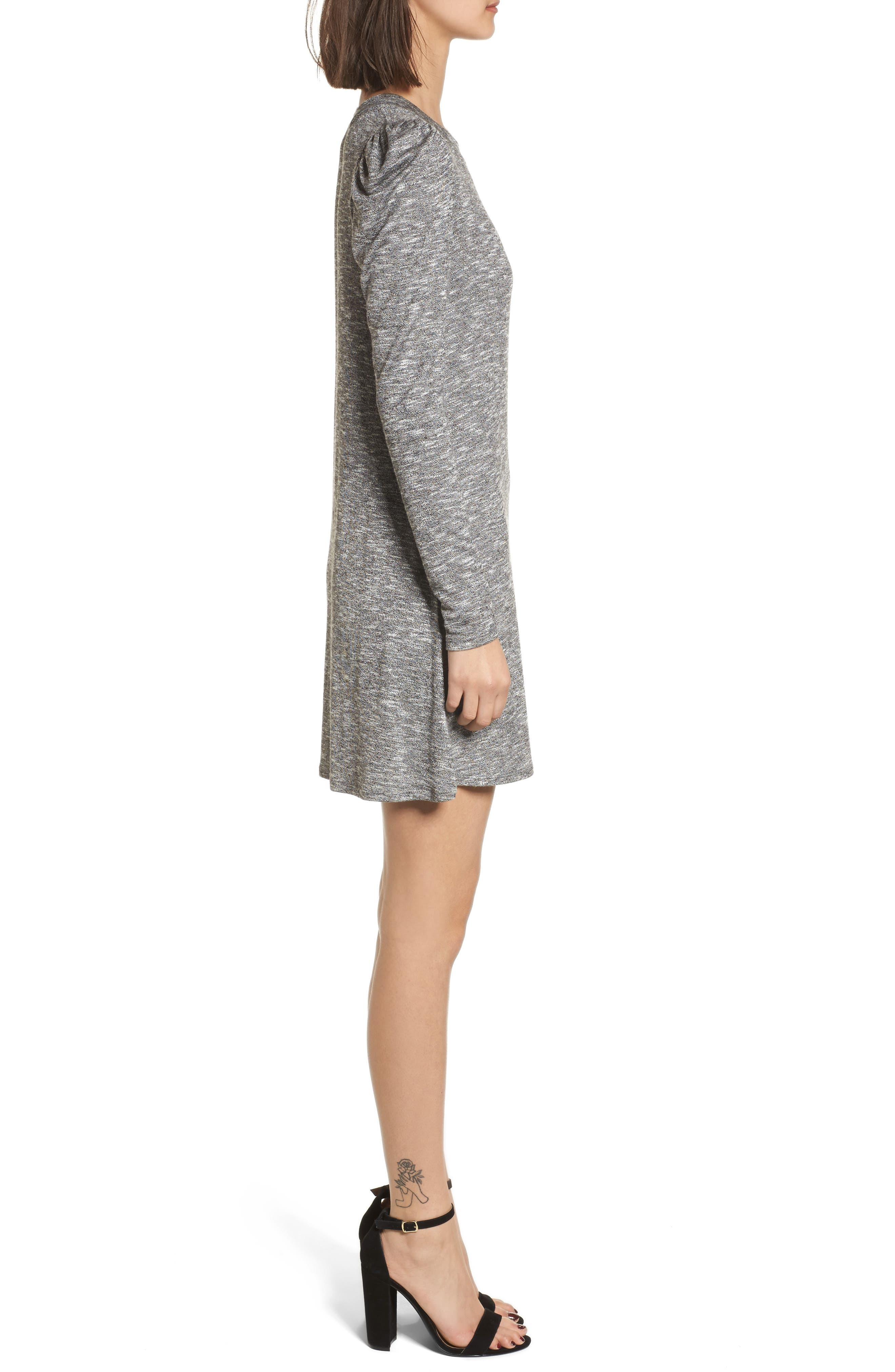 Knit Puff Shoulder Dress,                             Alternate thumbnail 3, color,                             Heather Grey