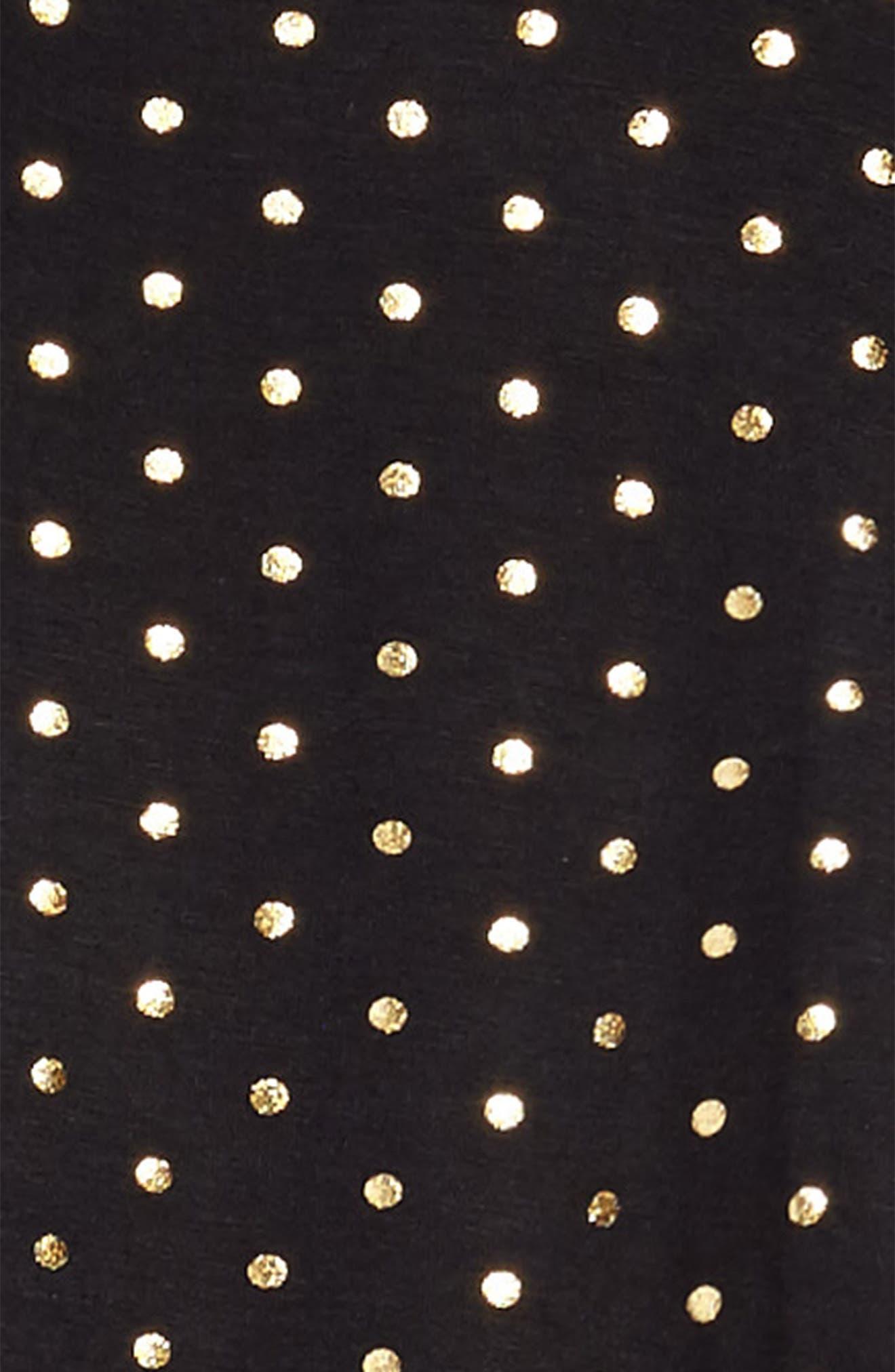 Foil Polka Dot Jersey Dress,                             Alternate thumbnail 3, color,                             Black/ Gold Foil