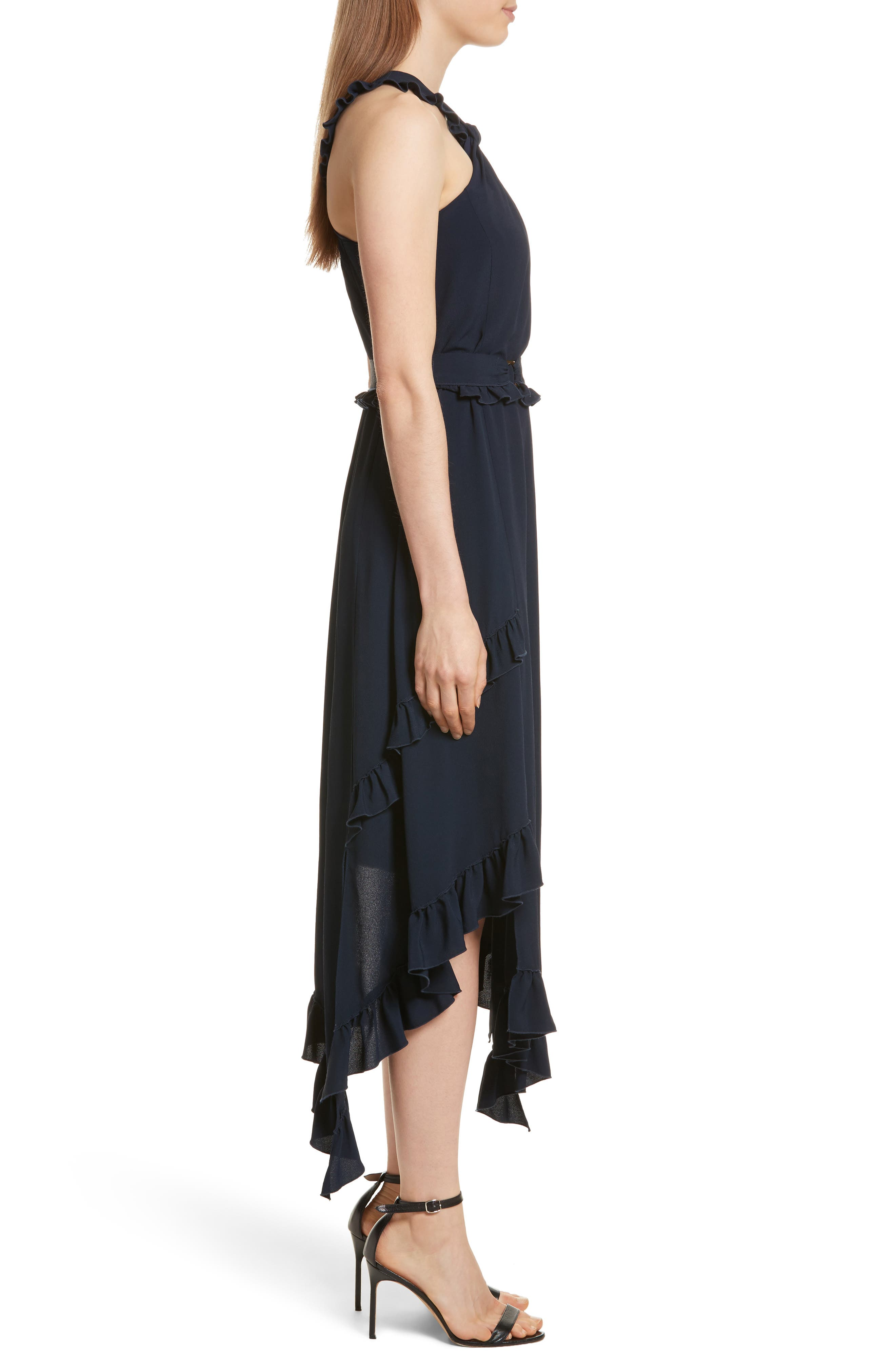 Ruffled Asymmetrical Dress,                             Alternate thumbnail 3, color,                             Midnight