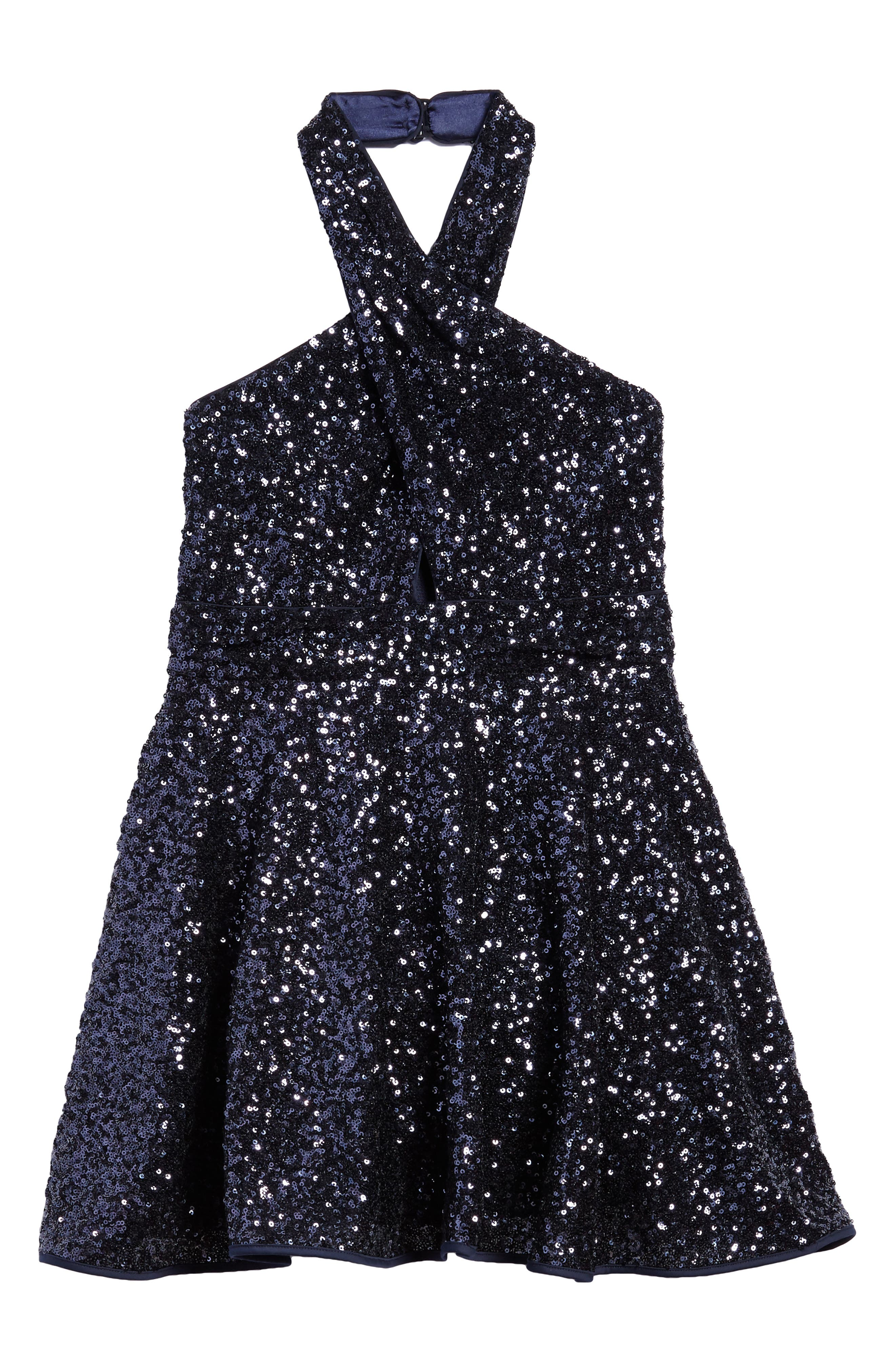 Sydney Sequin Halter Dress,                         Main,                         color, Navy