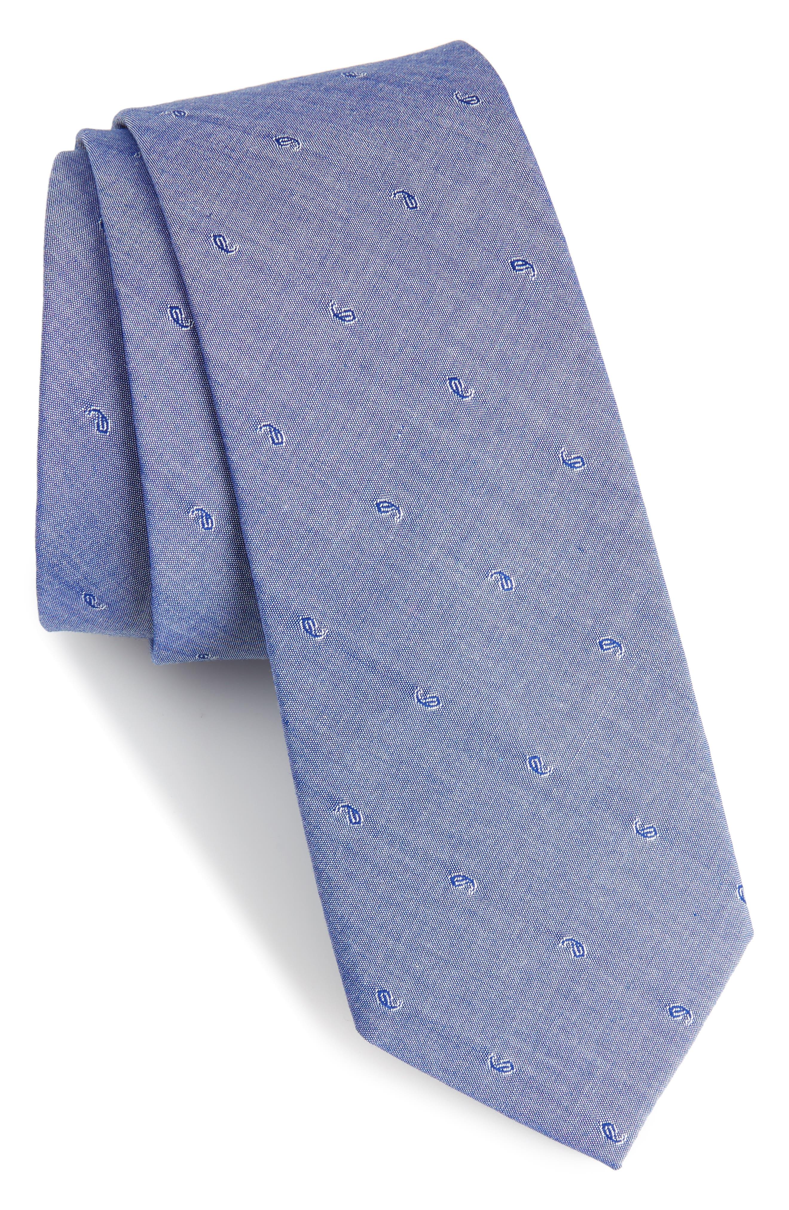 Indigo Pine Cotton Skinny Tie,                         Main,                         color, Blue