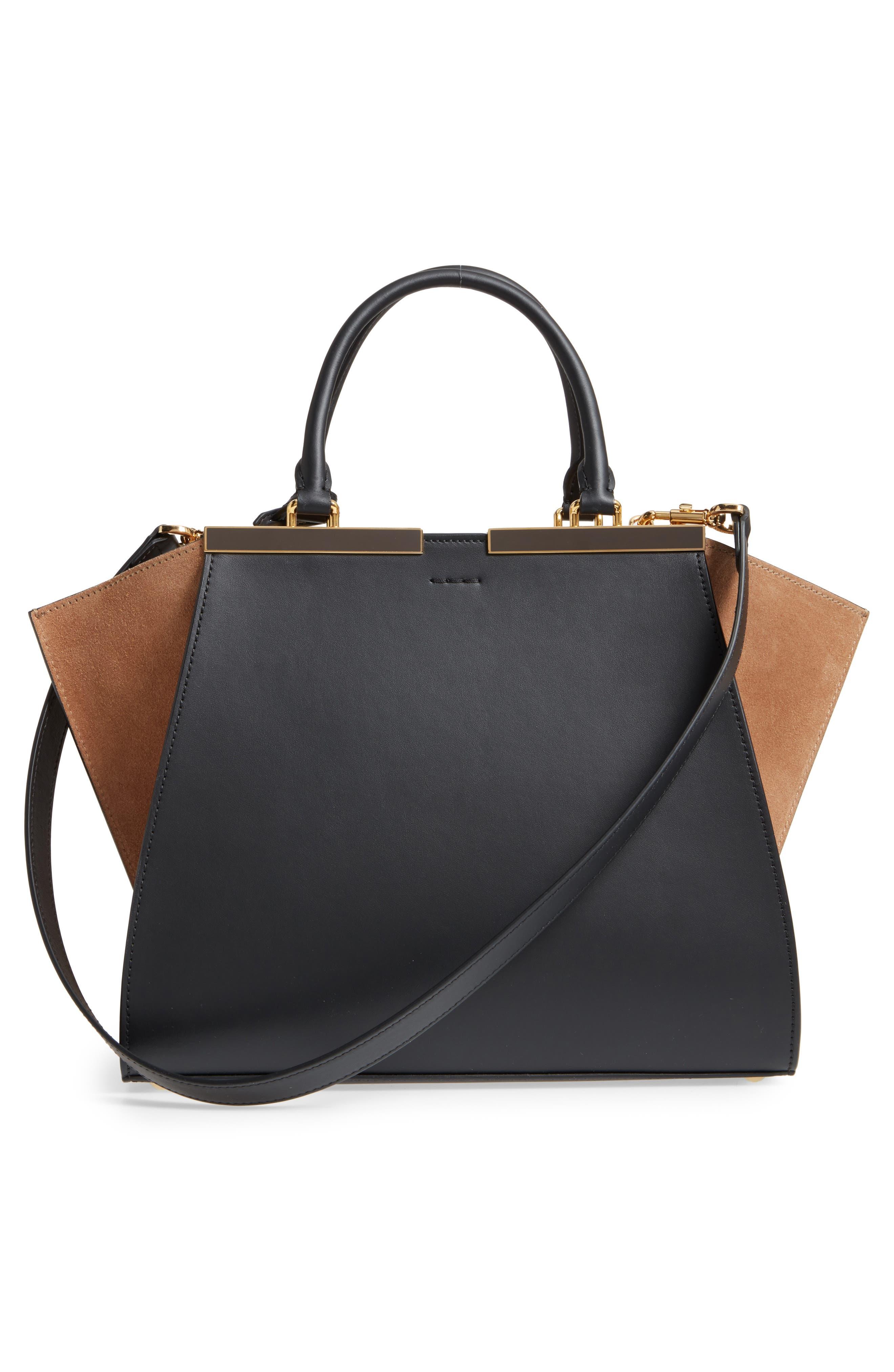 3Jours Leather & Suede Shopper,                             Alternate thumbnail 3, color,                             Black/ Brown