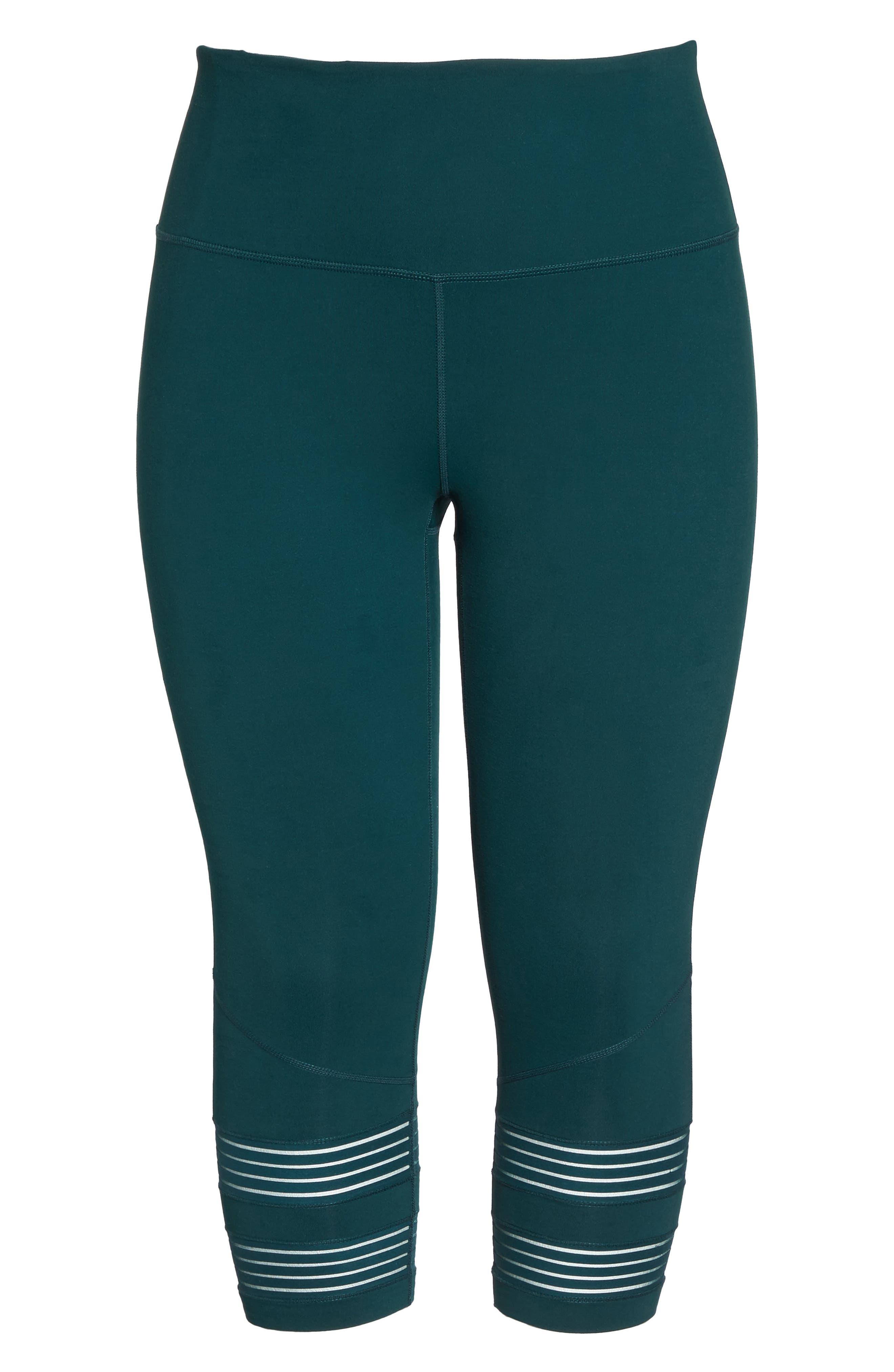 Twin High Waist Crop Leggings,                             Alternate thumbnail 8, color,                             Green Ponderosa