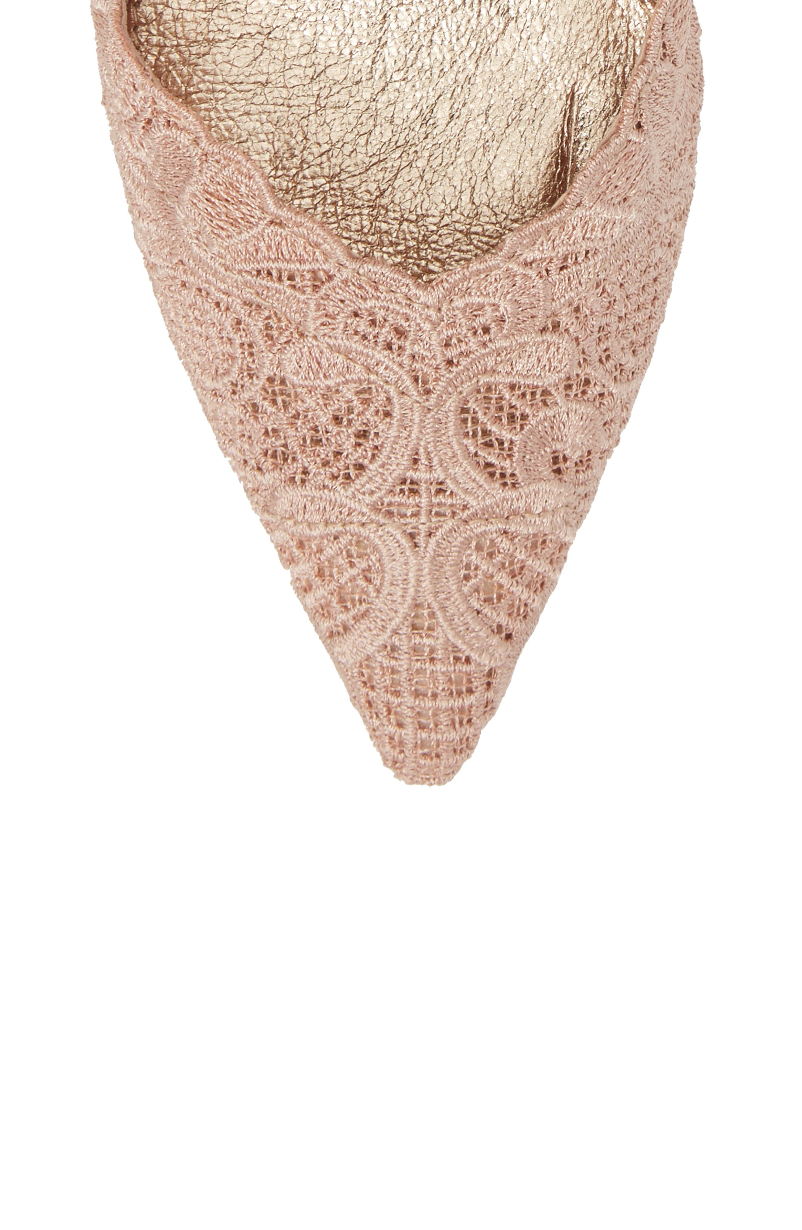 Hallie Slingback Pump,                             Alternate thumbnail 5, color,                             Blush Attalie Lace Fabric
