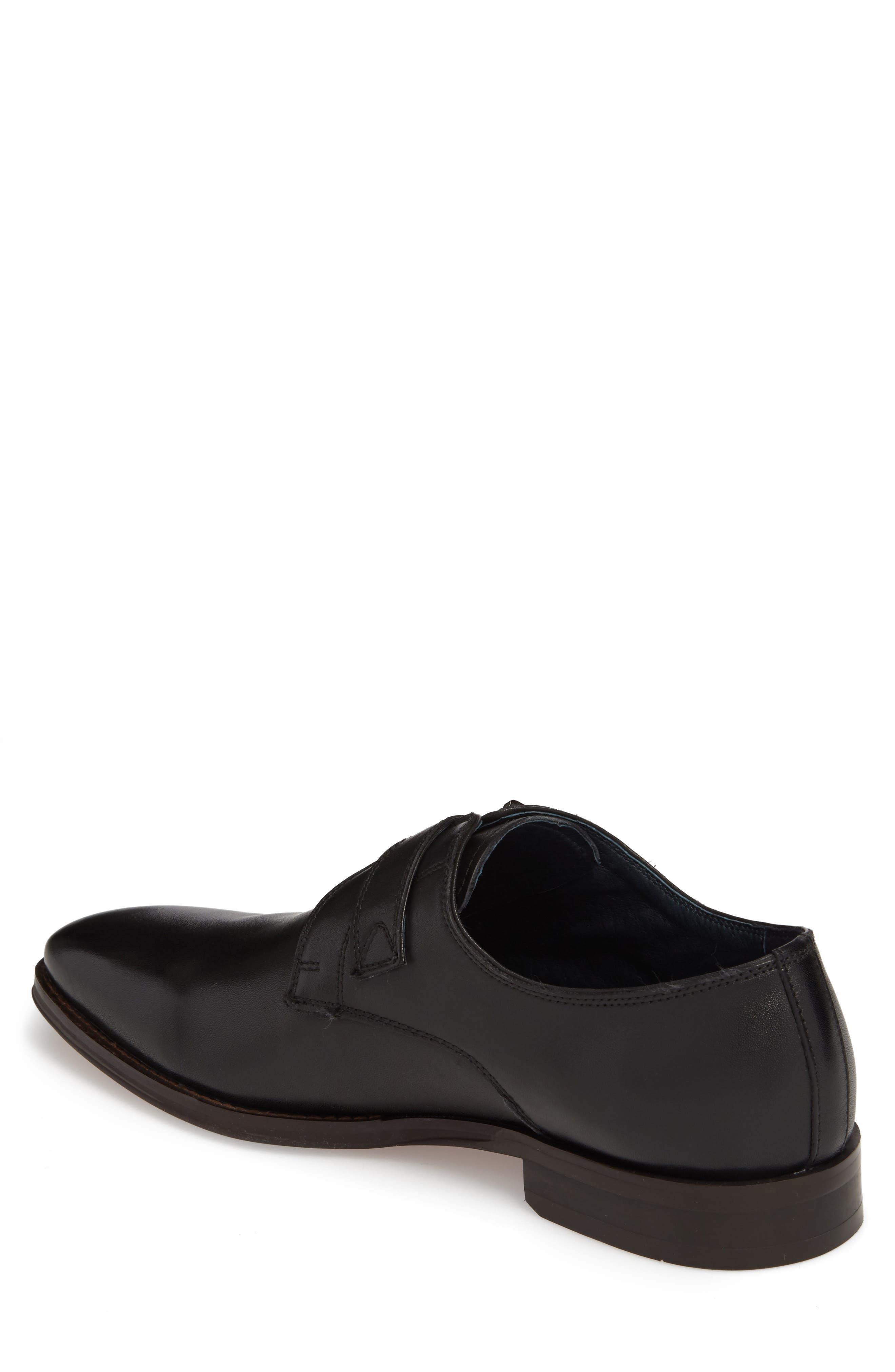 Miguel Monk Strap Shoe,                             Alternate thumbnail 2, color,                             Black Leather