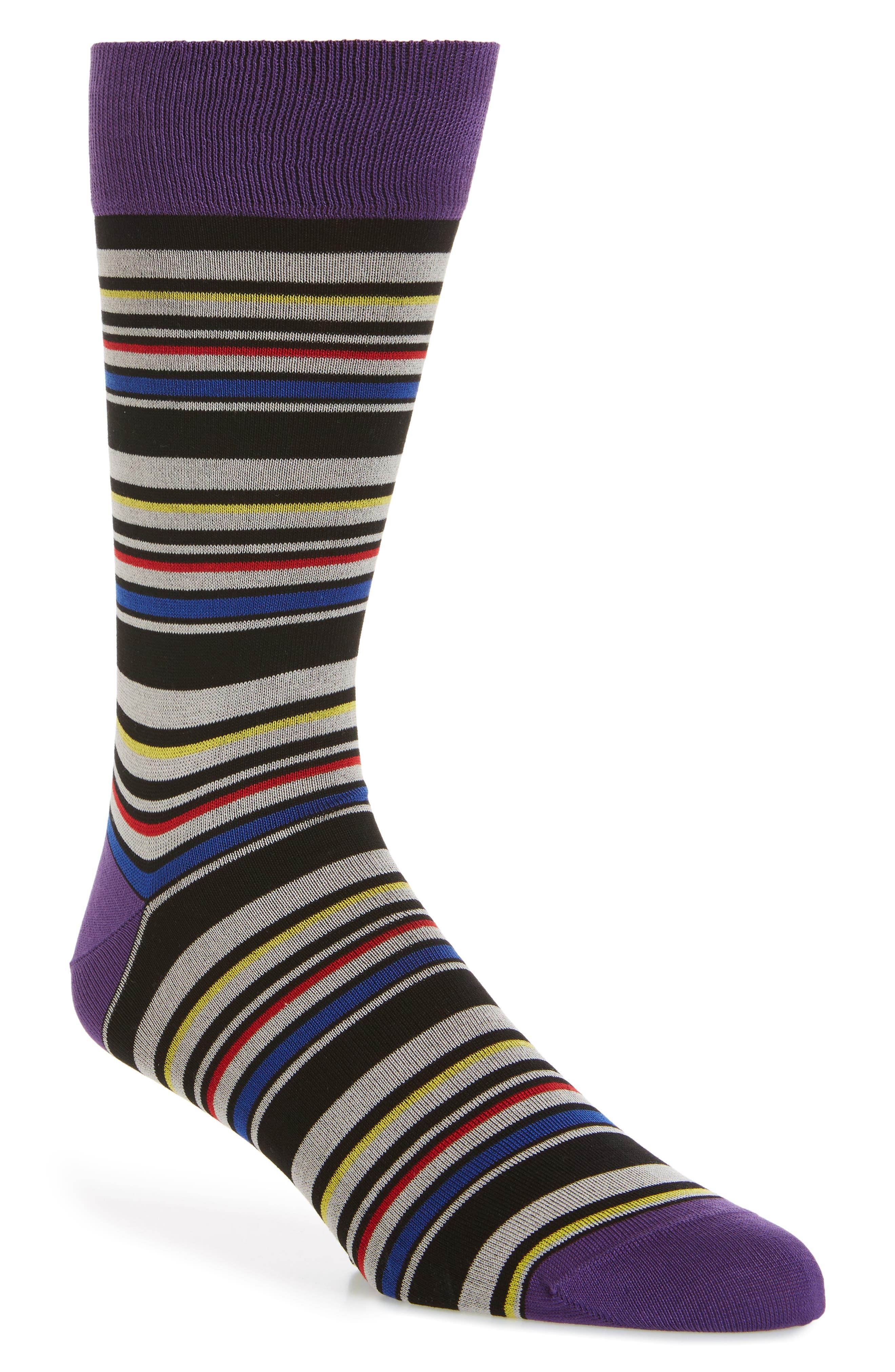 Stripe Socks,                         Main,                         color, Grape