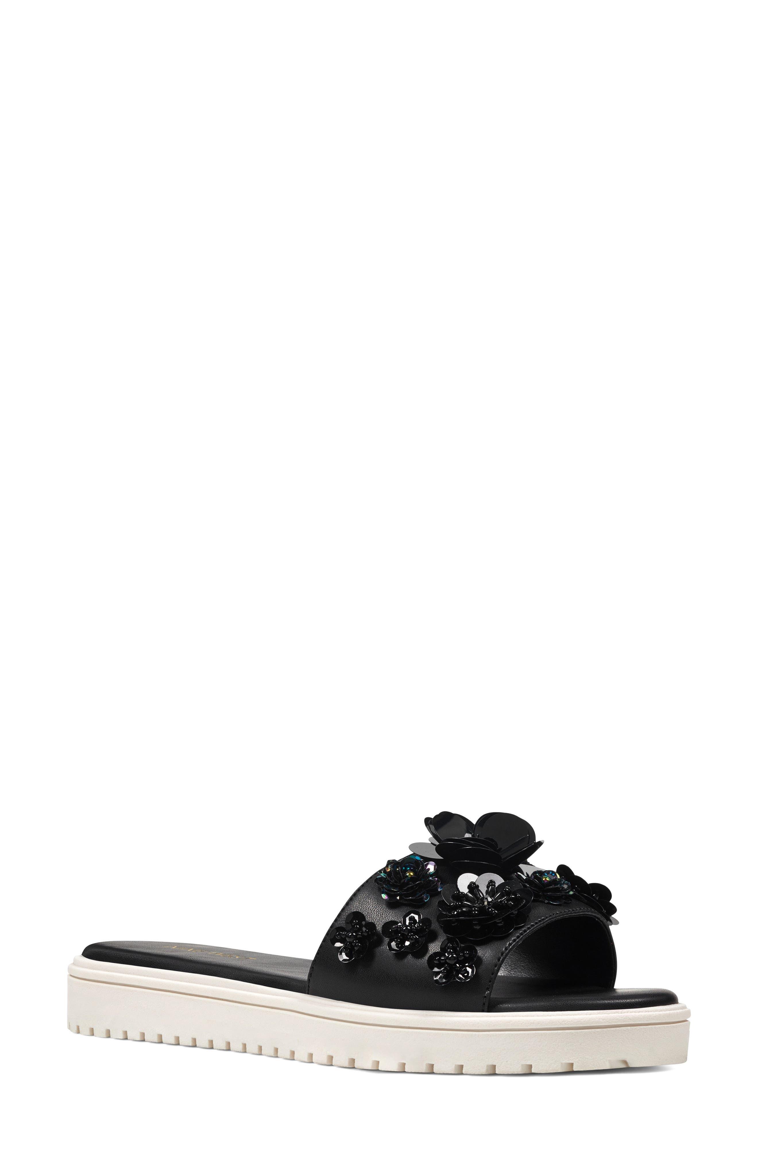 Rainen Flower Embellished Slide Sandal,                             Main thumbnail 1, color,                             Black Fabric