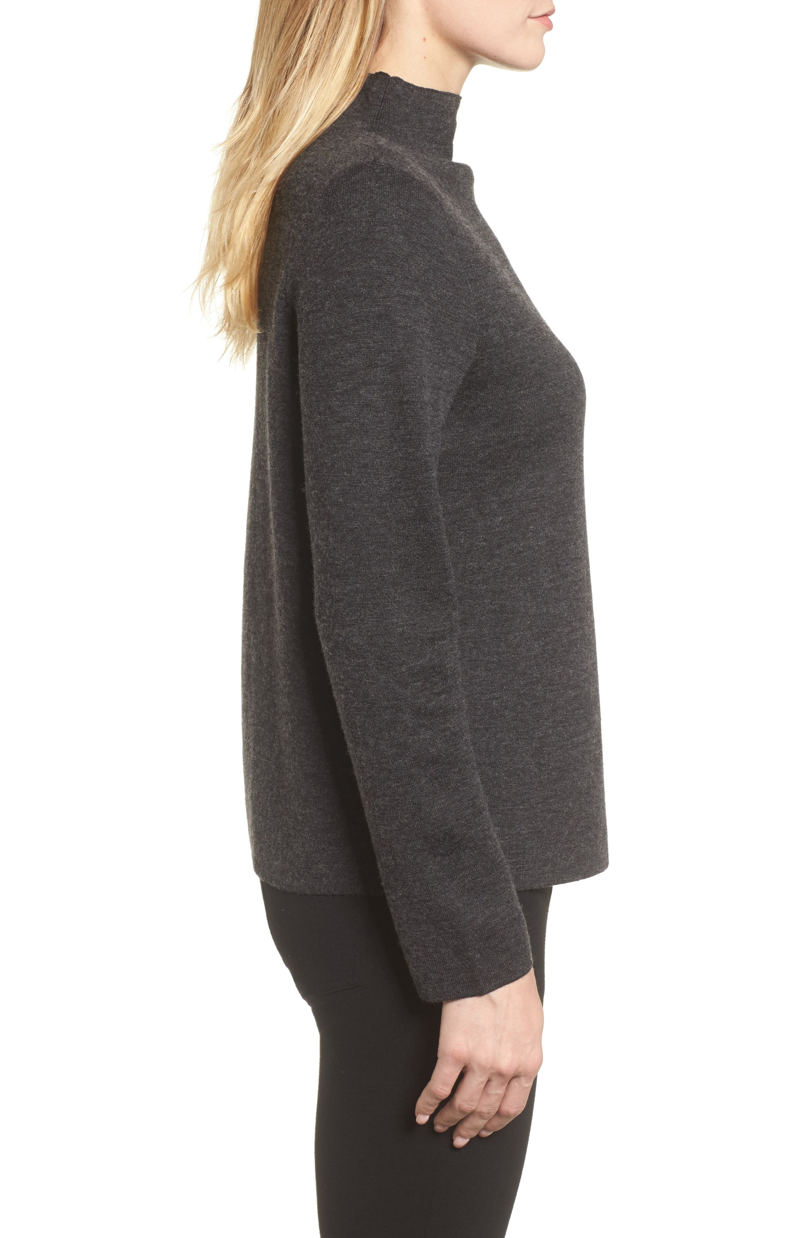 Funnel Neck Sweater,                             Alternate thumbnail 3, color,                             Charcoal