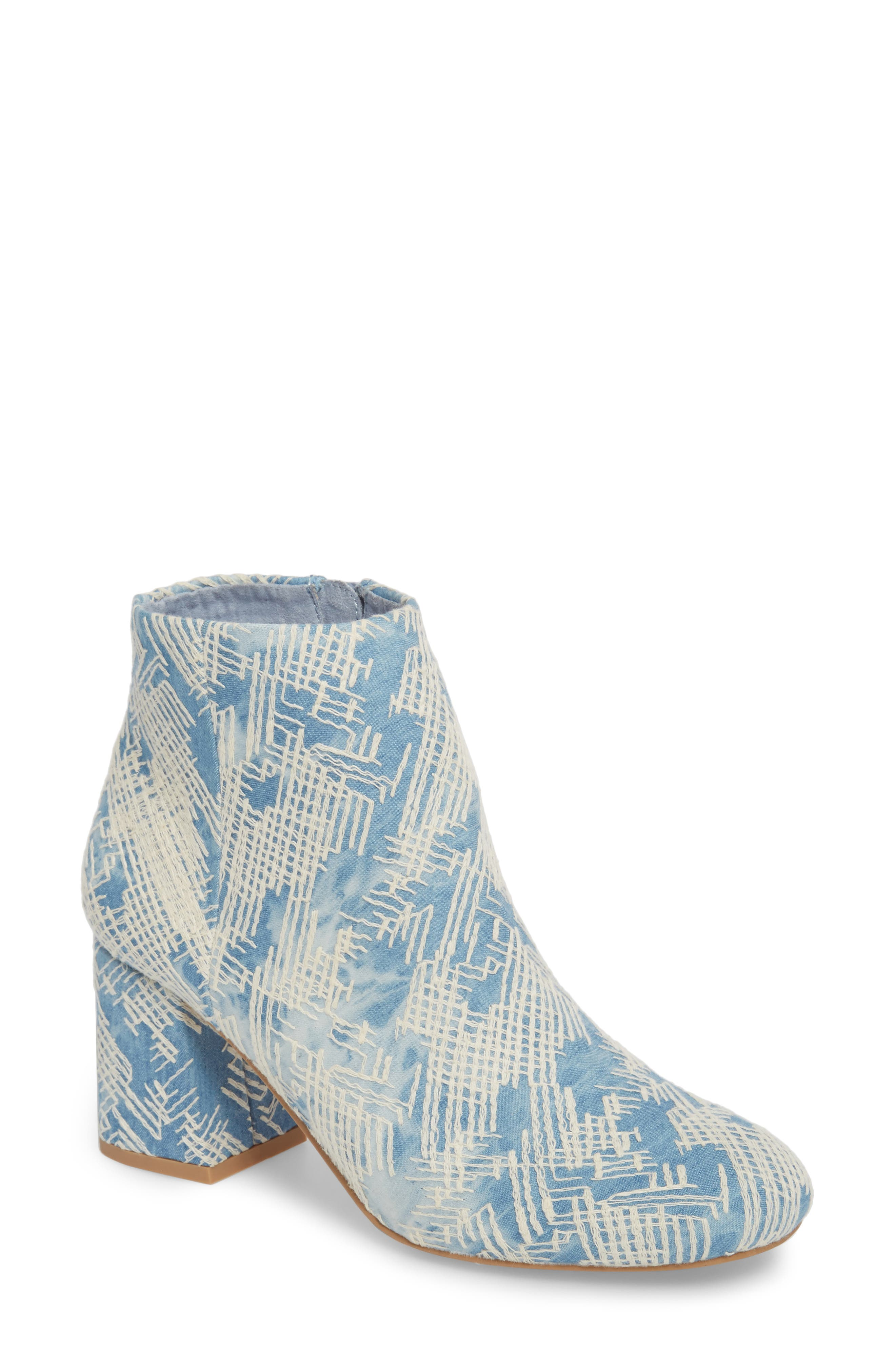 Audition Bootie,                             Main thumbnail 1, color,                             Emrboidered Denim