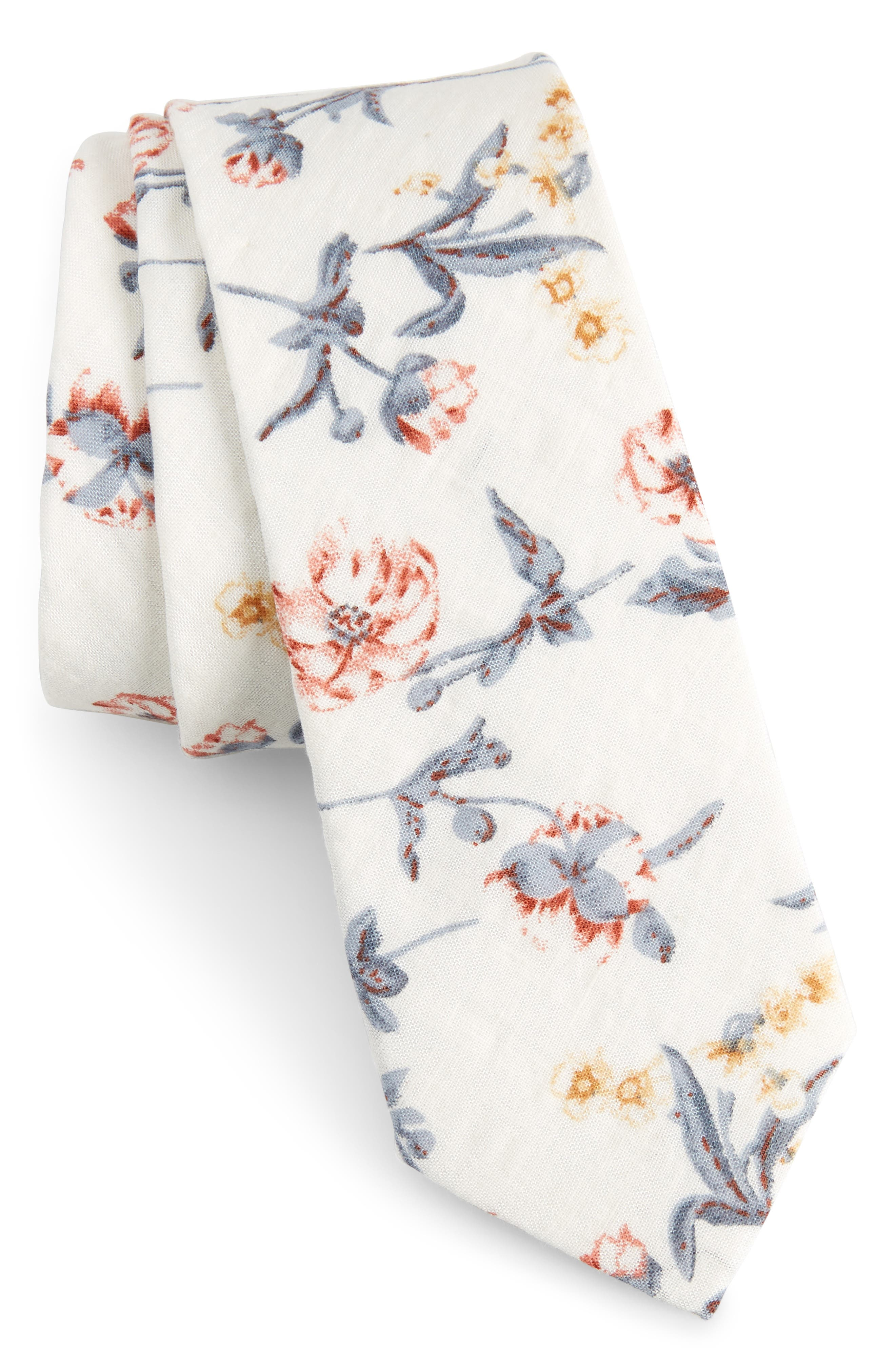 Nunley Floral Cotton Skinny Tie,                             Main thumbnail 1, color,                             White