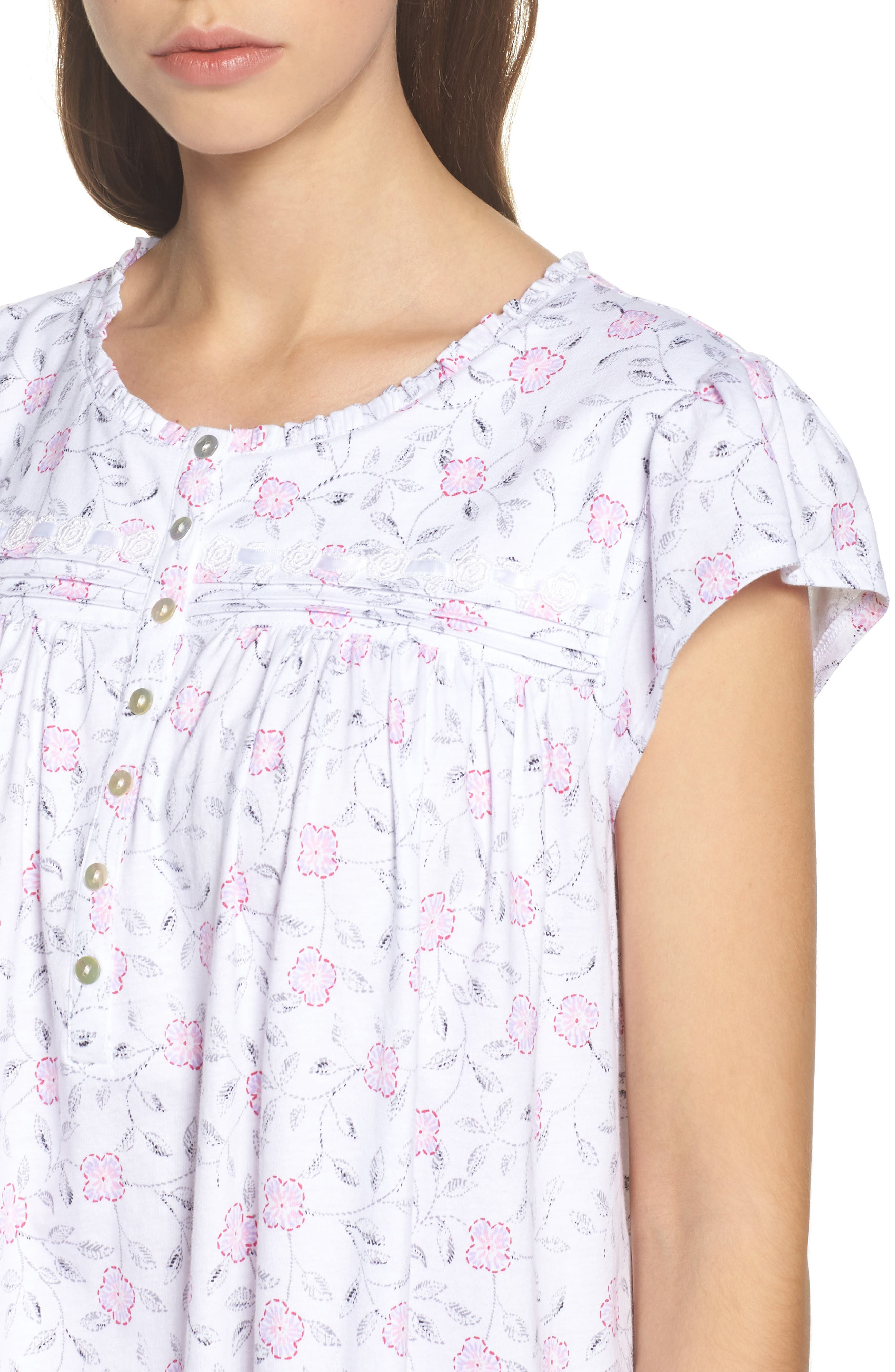 Cotton Jersey Nightgown,                             Alternate thumbnail 5, color,                             White Floral Scroll