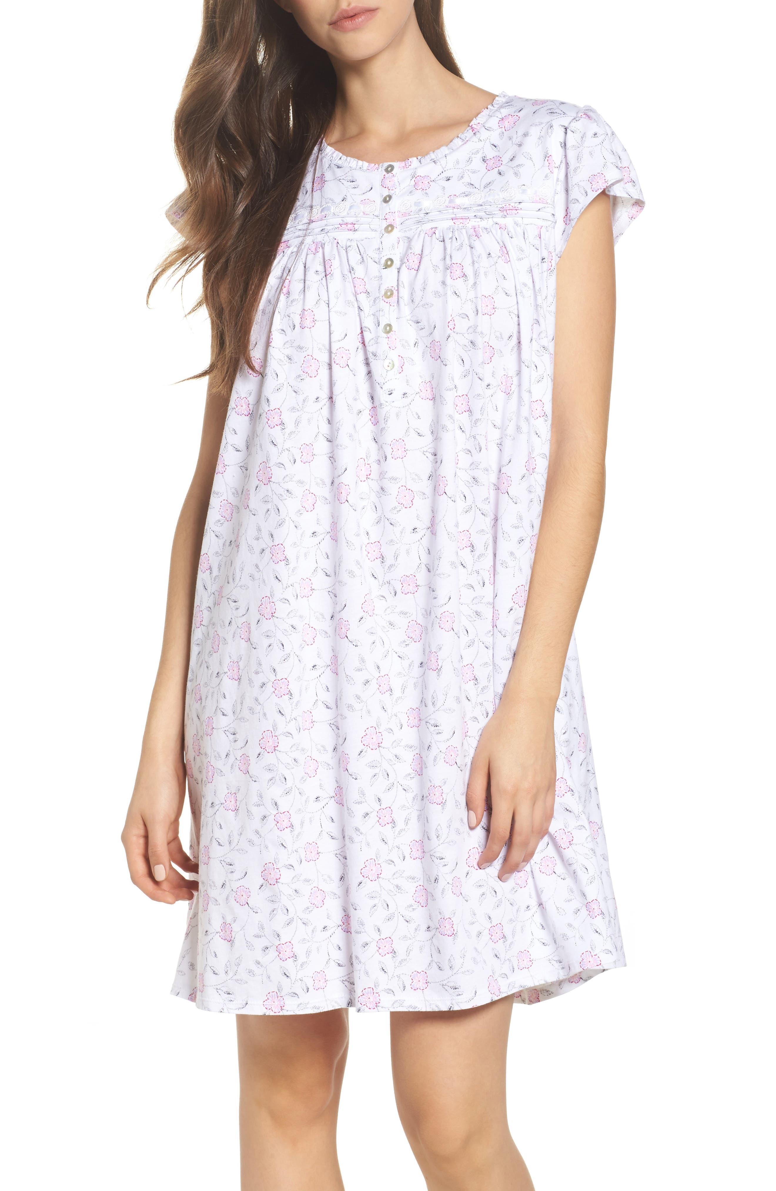 Cotton Jersey Nightgown,                         Main,                         color, White Floral Scroll