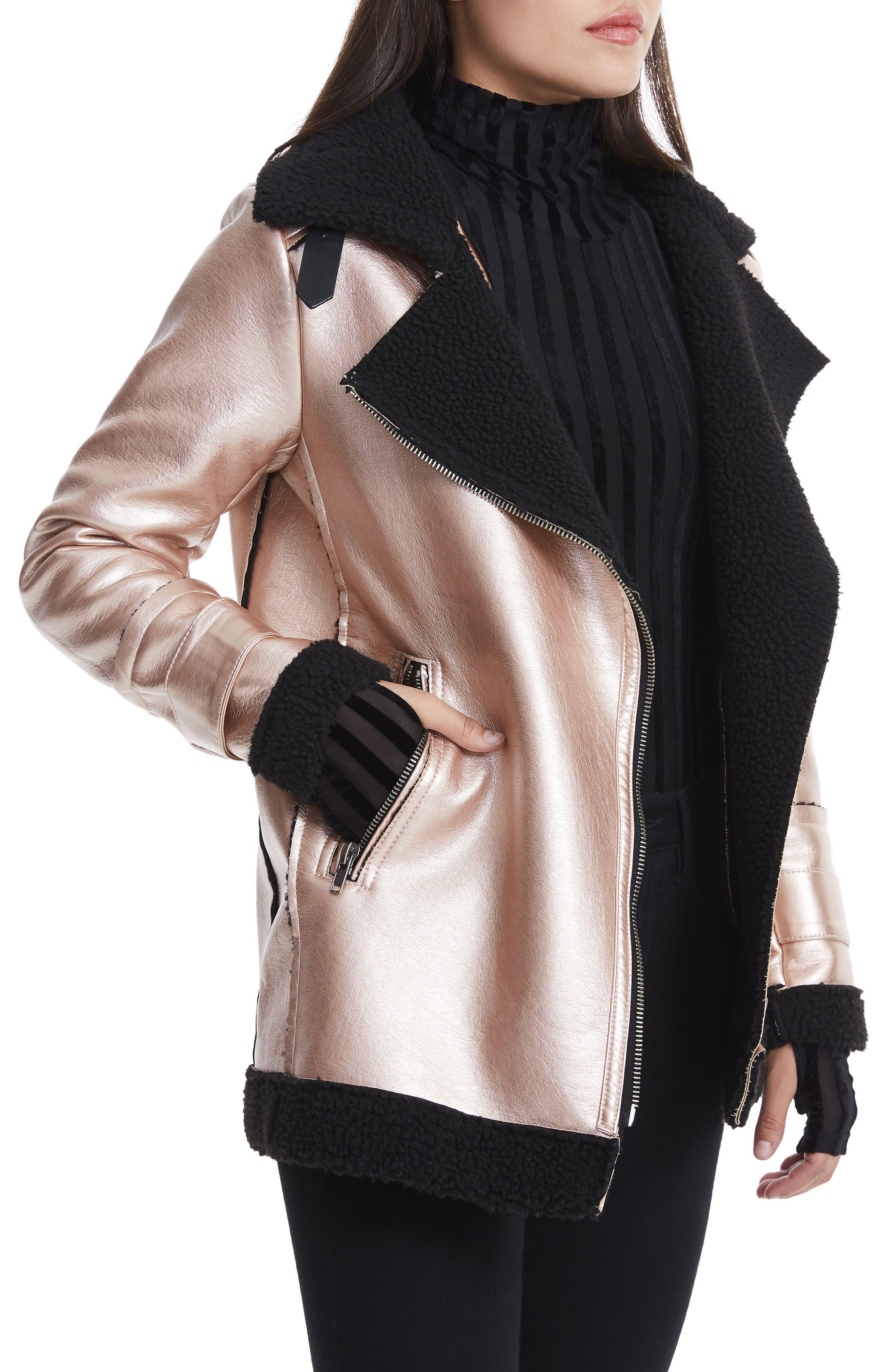 Ophelia Oversize Faux Shearling Jacket,                             Alternate thumbnail 4, color,                             Metallic
