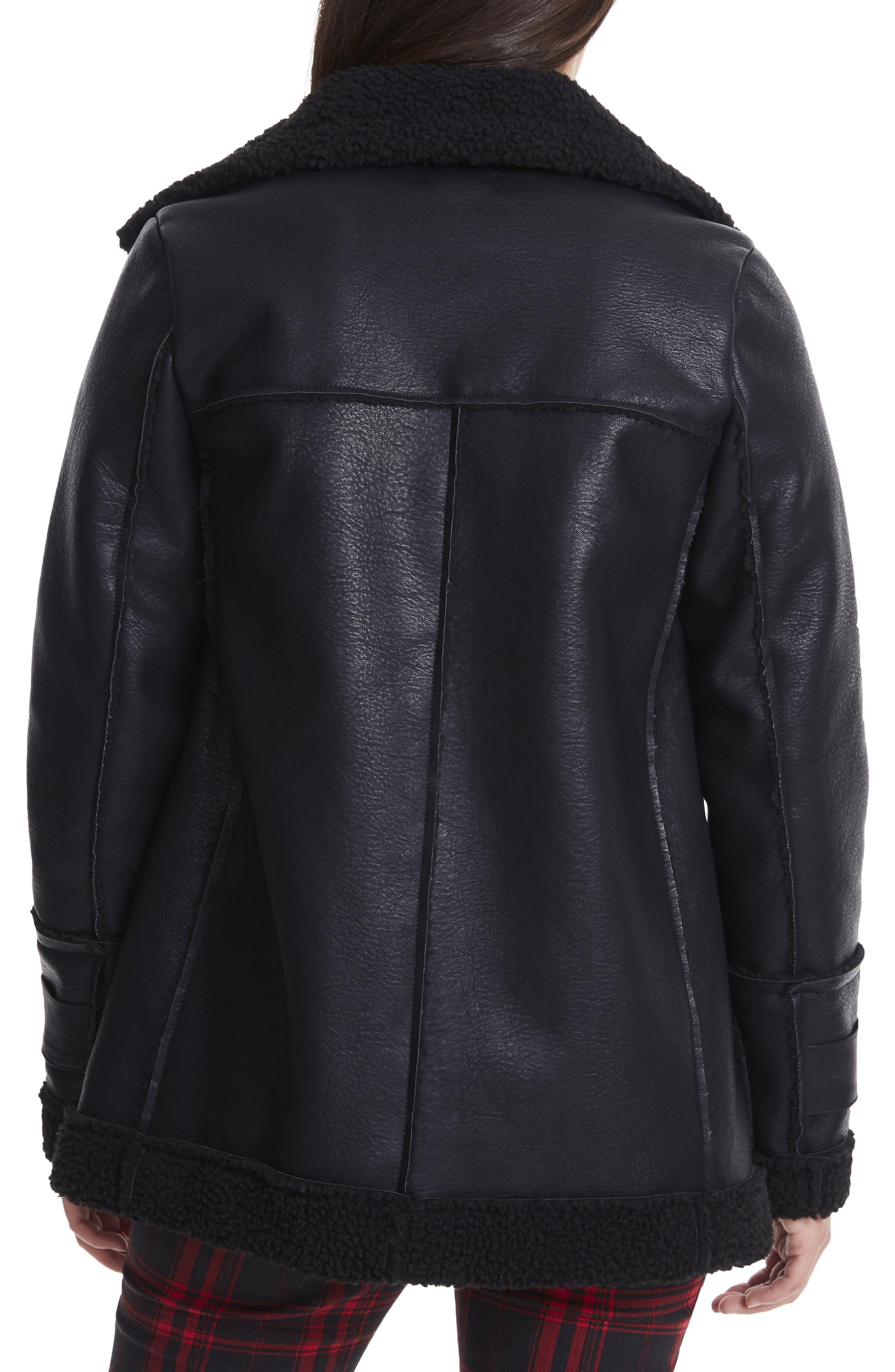 Opelia Oversize Faux Shearling Jacket,                             Alternate thumbnail 2, color,                             Noir
