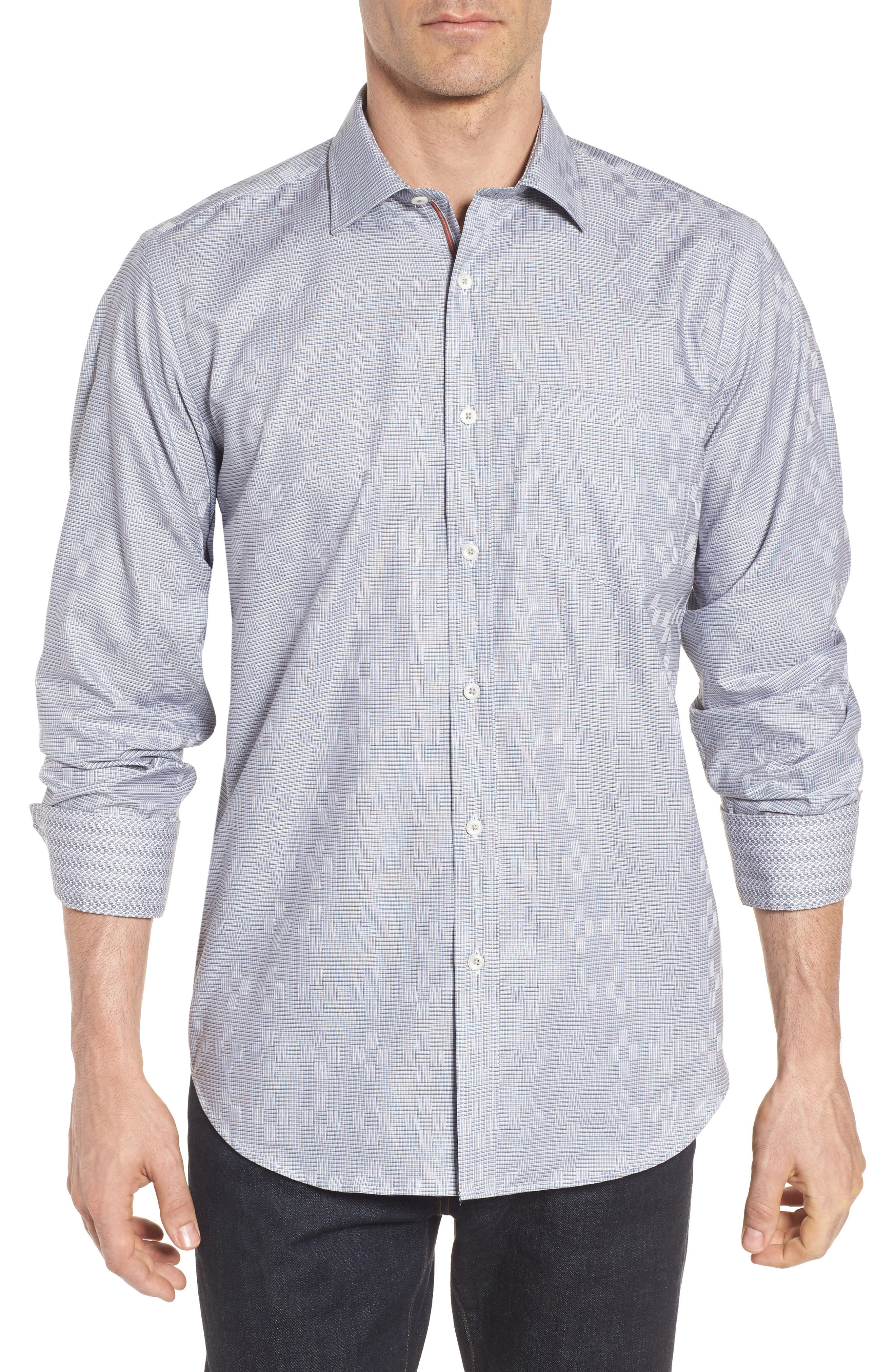 Alternate Image 1 Selected - Bugatchi Classic Fit Print Sport Shirt