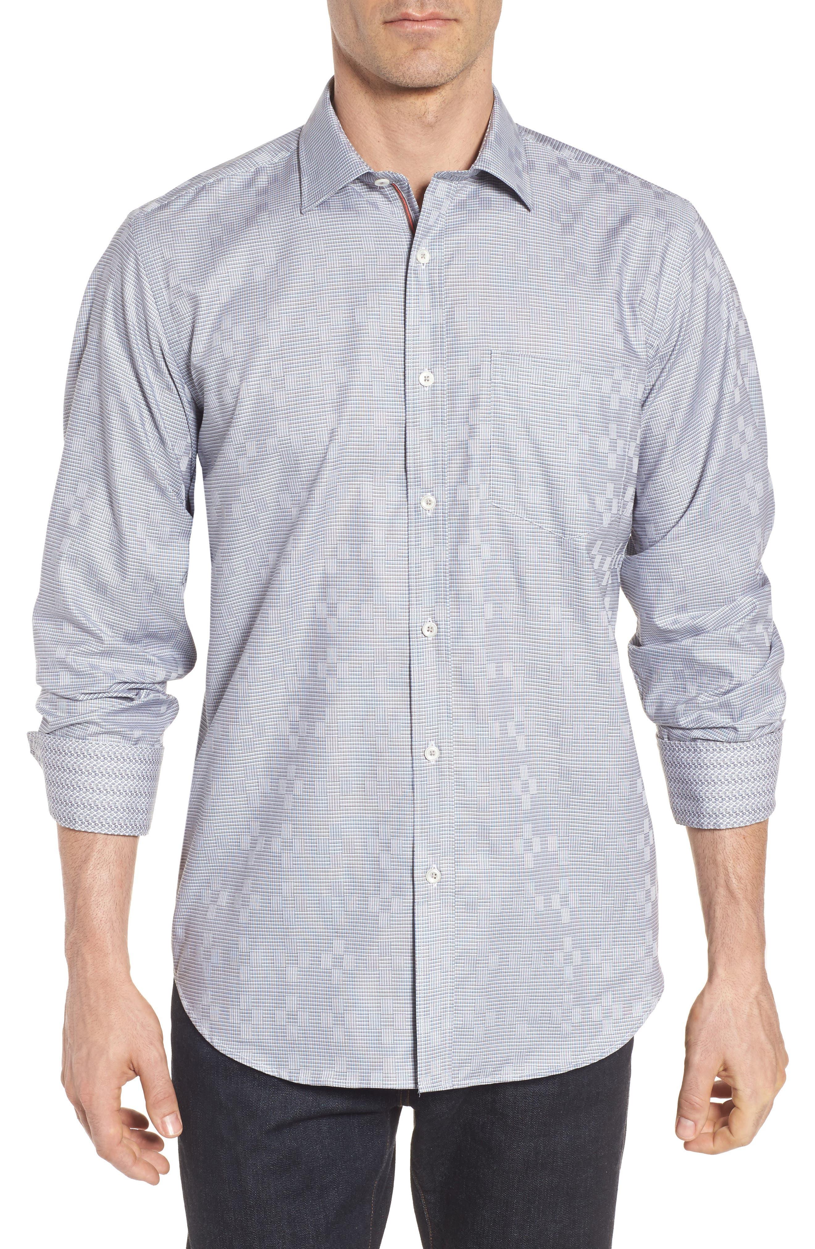 Main Image - Bugatchi Classic Fit Print Sport Shirt