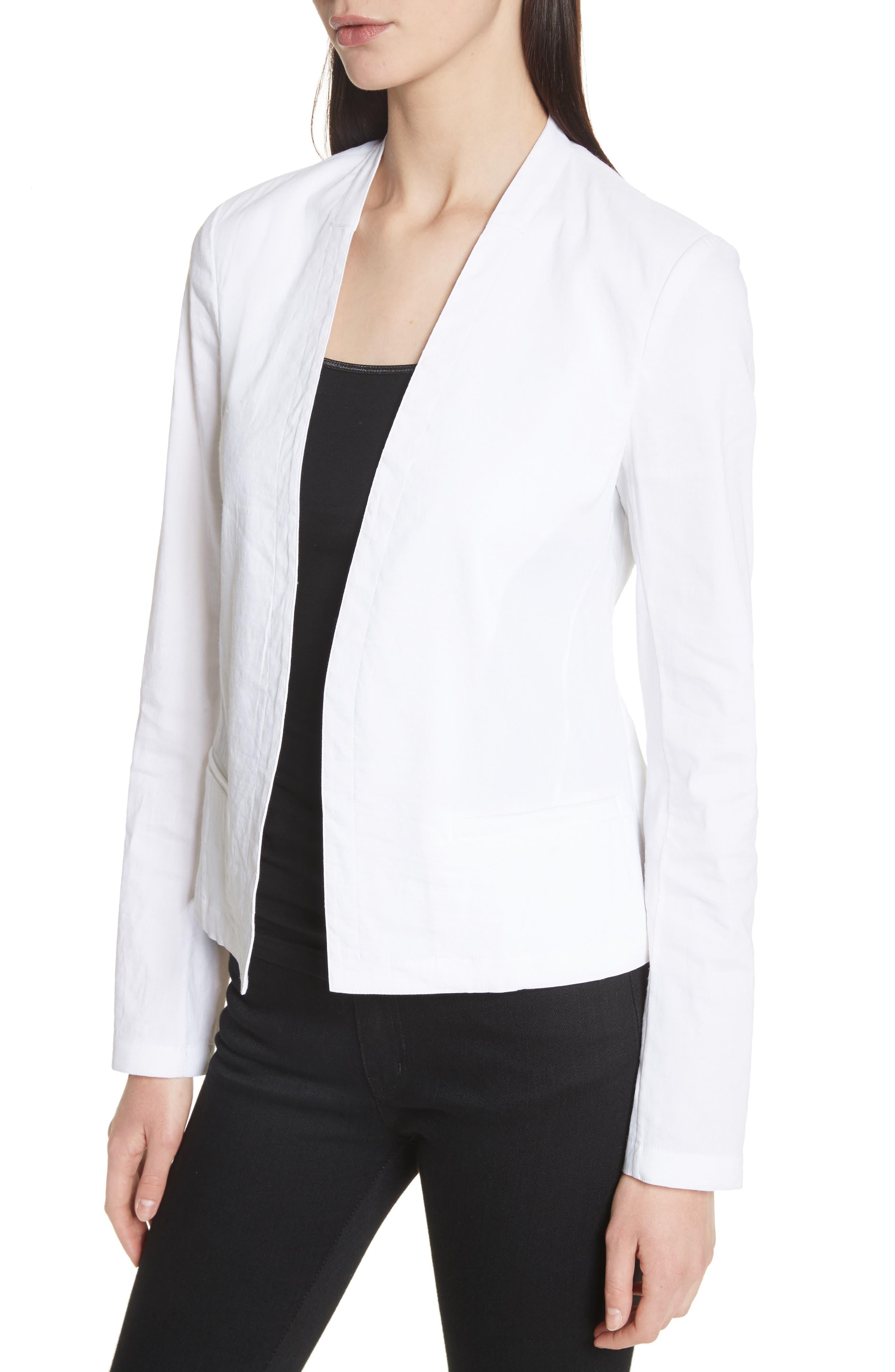 Clean Linen Blend Blazer,                             Alternate thumbnail 4, color,                             White