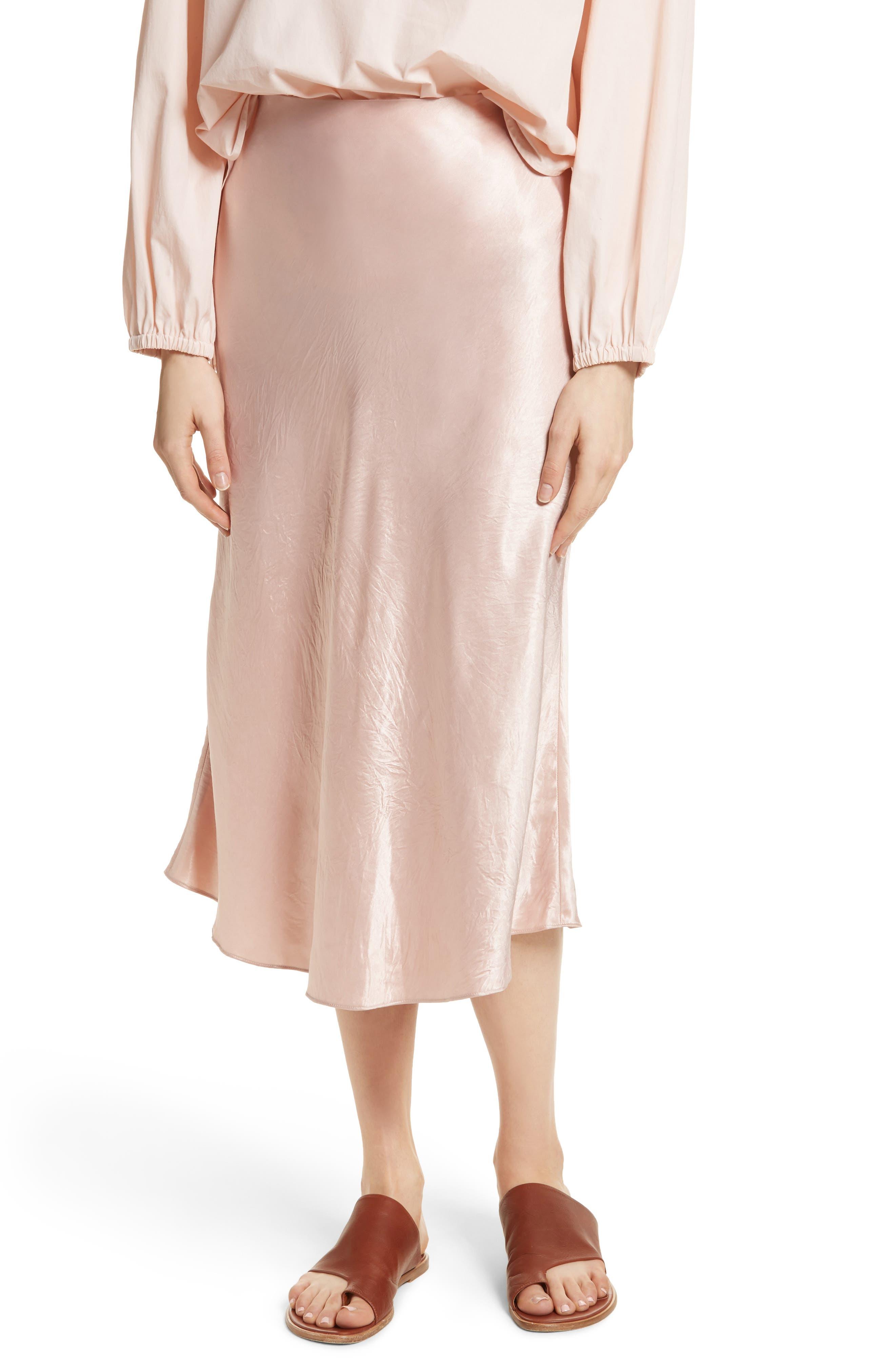 Satin Slip Skirt,                         Main,                         color, Tulip