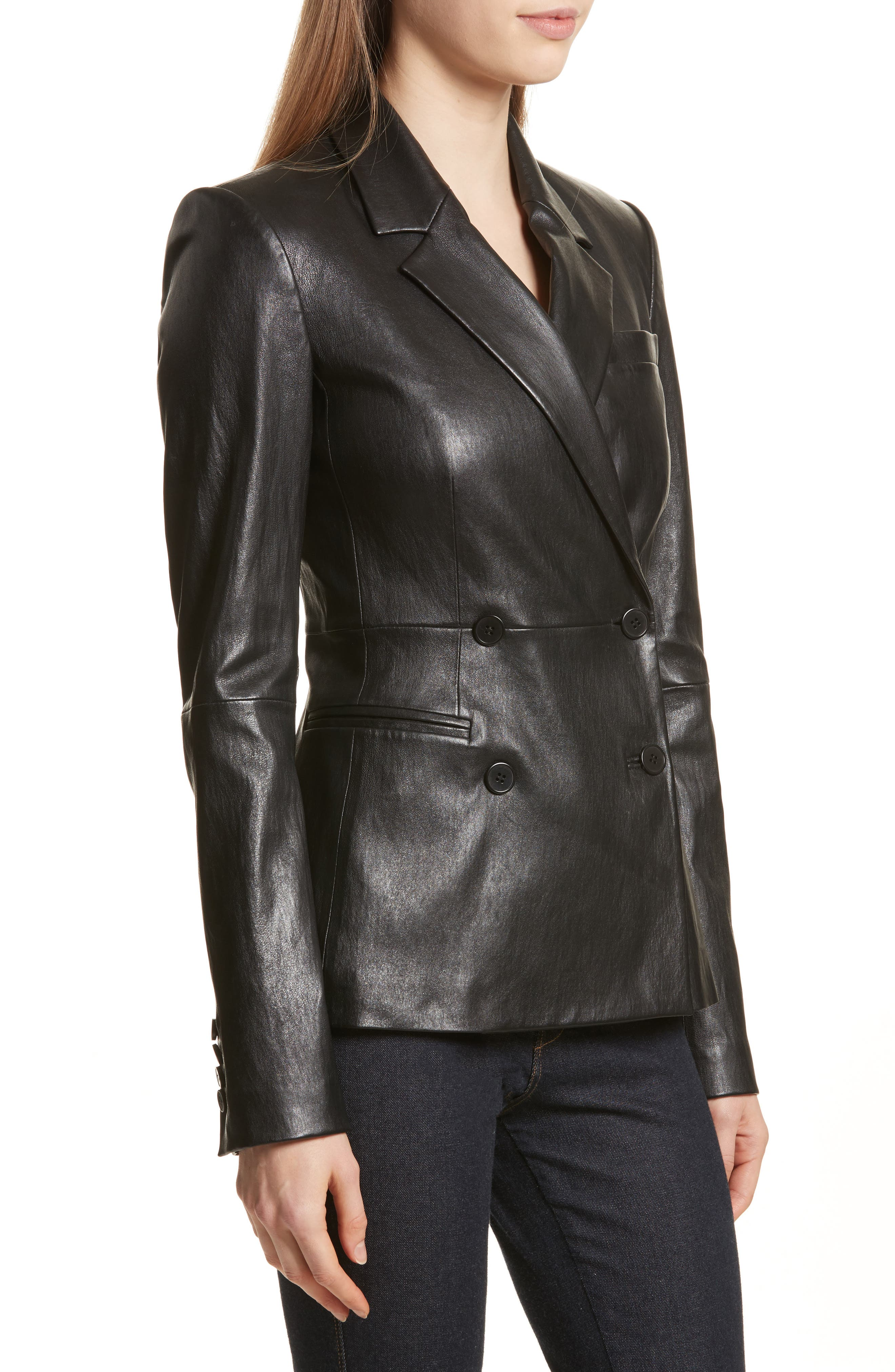 Bristol Leather Blazer,                             Alternate thumbnail 4, color,                             Black