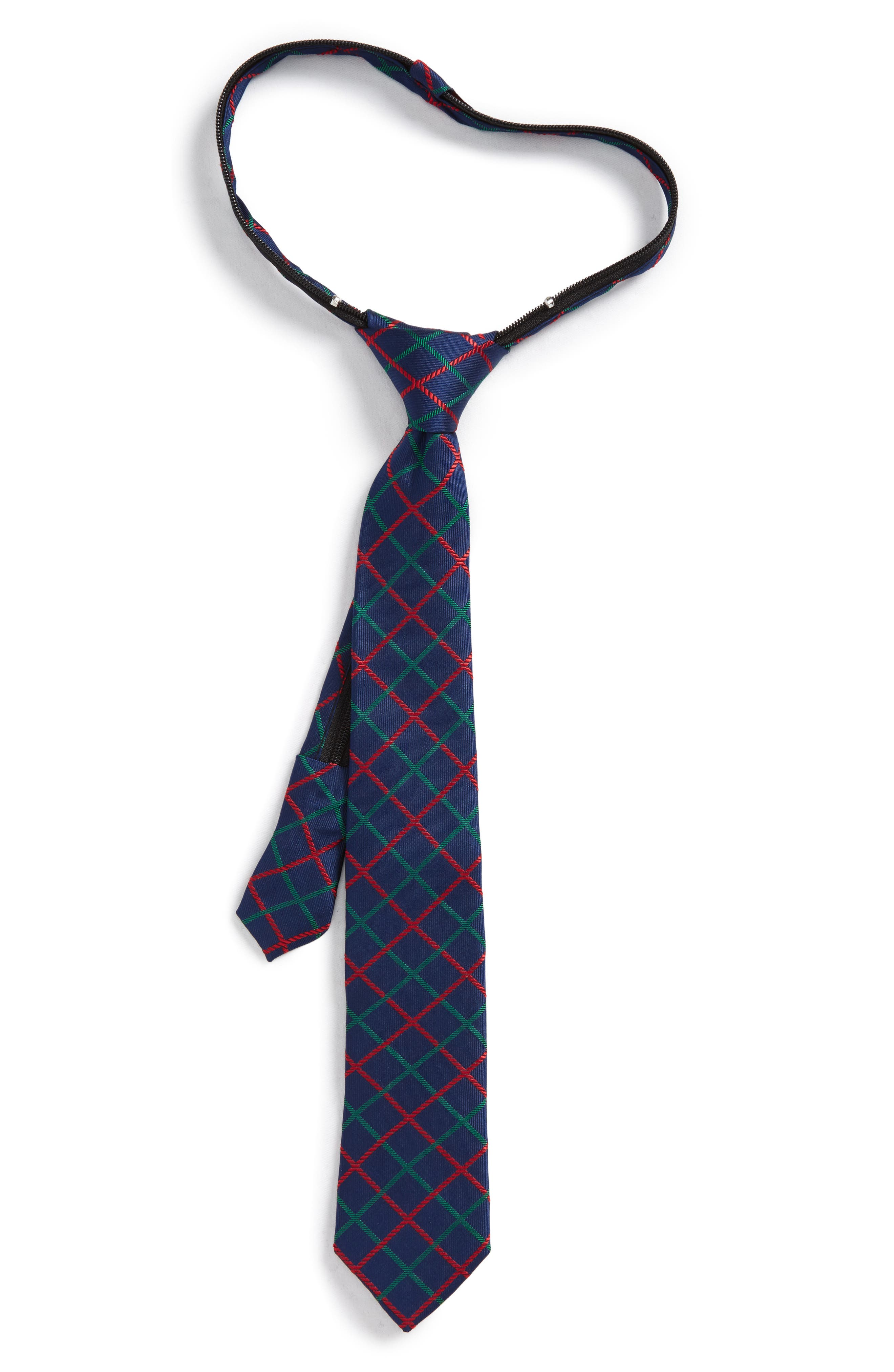 Plaid Silk Zip Tie,                         Main,                         color, Navy