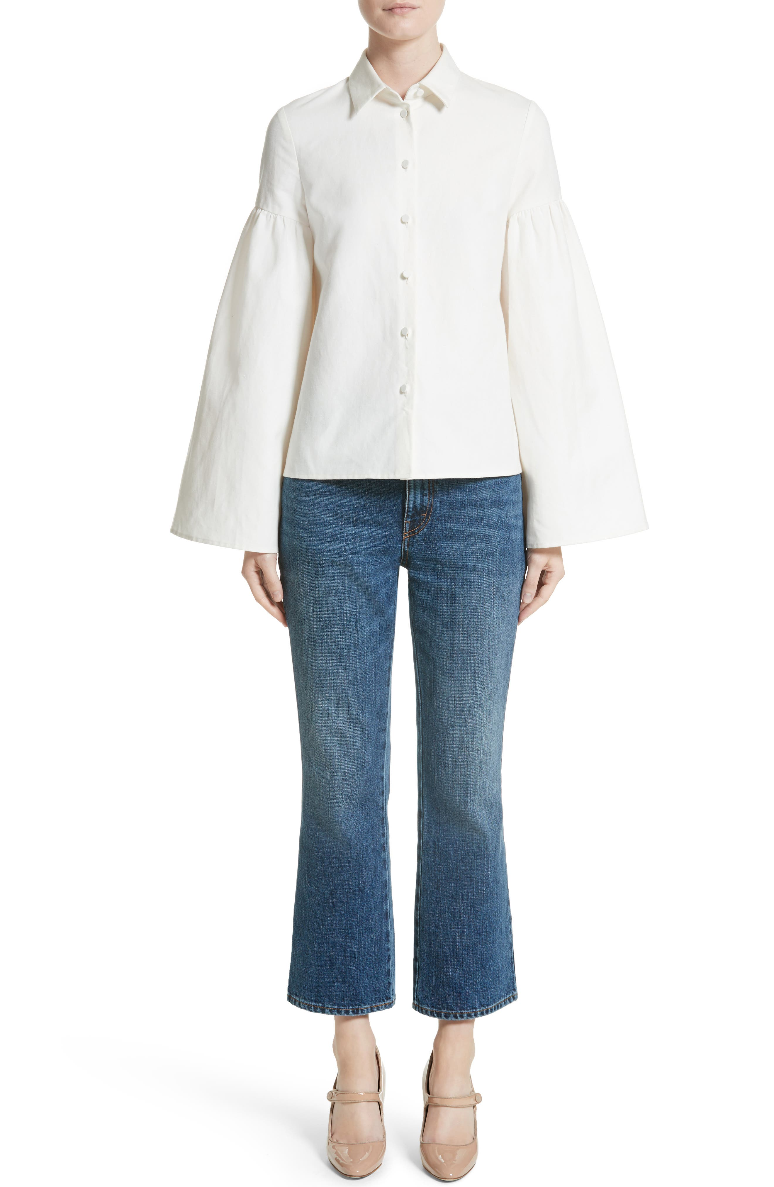 Linen & Cotton Puff Sleeve Top,                             Alternate thumbnail 7, color,                             Ivory