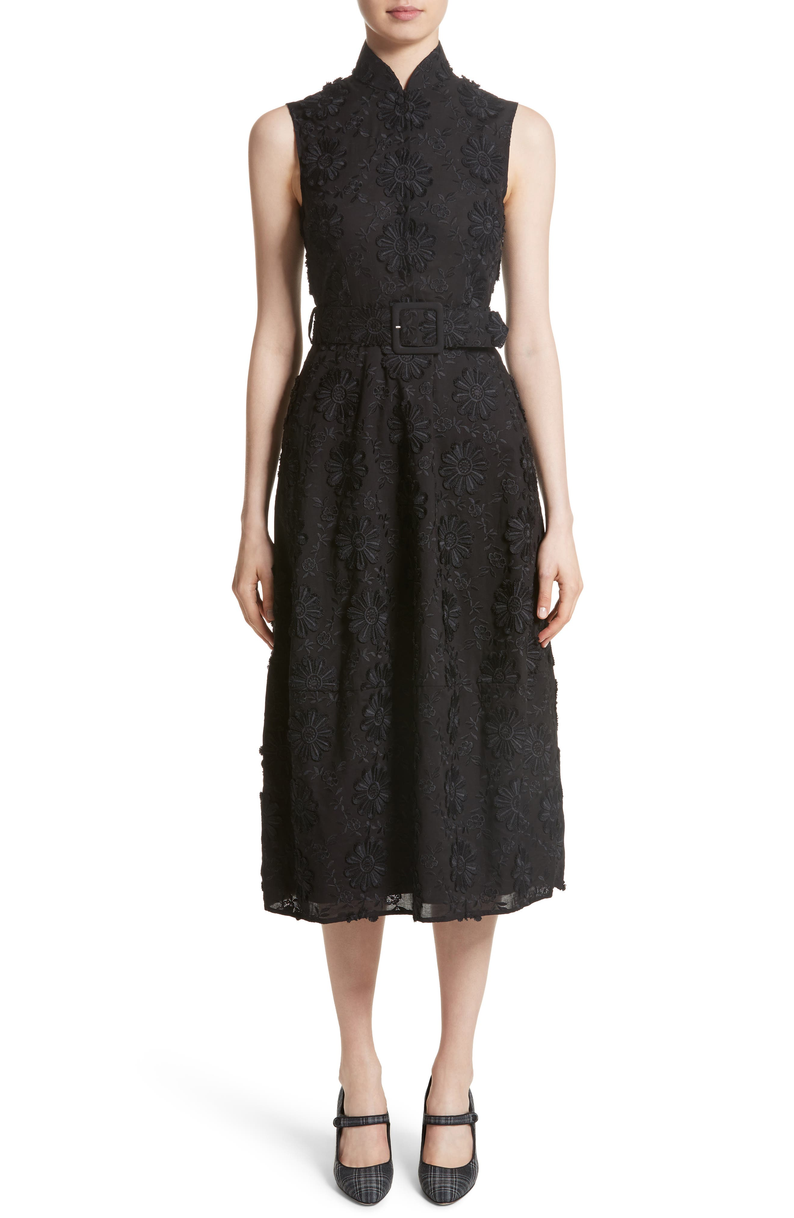 Floral Embroidered Dress,                         Main,                         color, Black