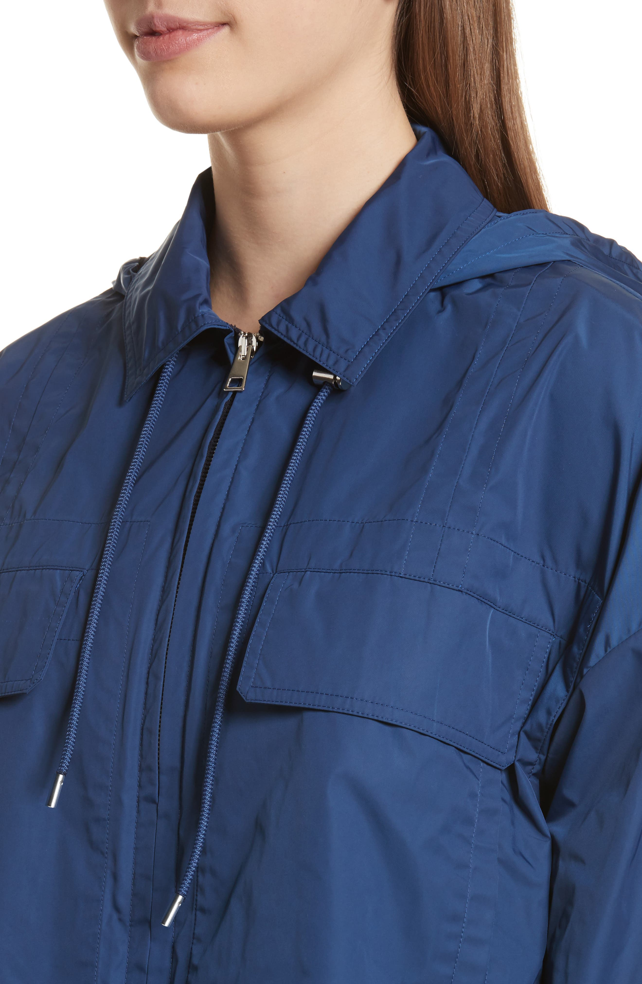 Active Twill Crop Hooded Jacket,                             Alternate thumbnail 4, color,                             Liberty Blue