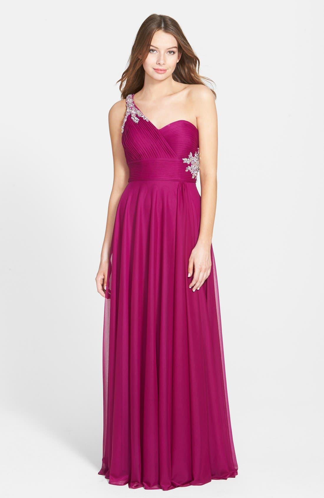 Alternate Image 1 Selected - Xscape Embellished One Shoulder Mesh Gown