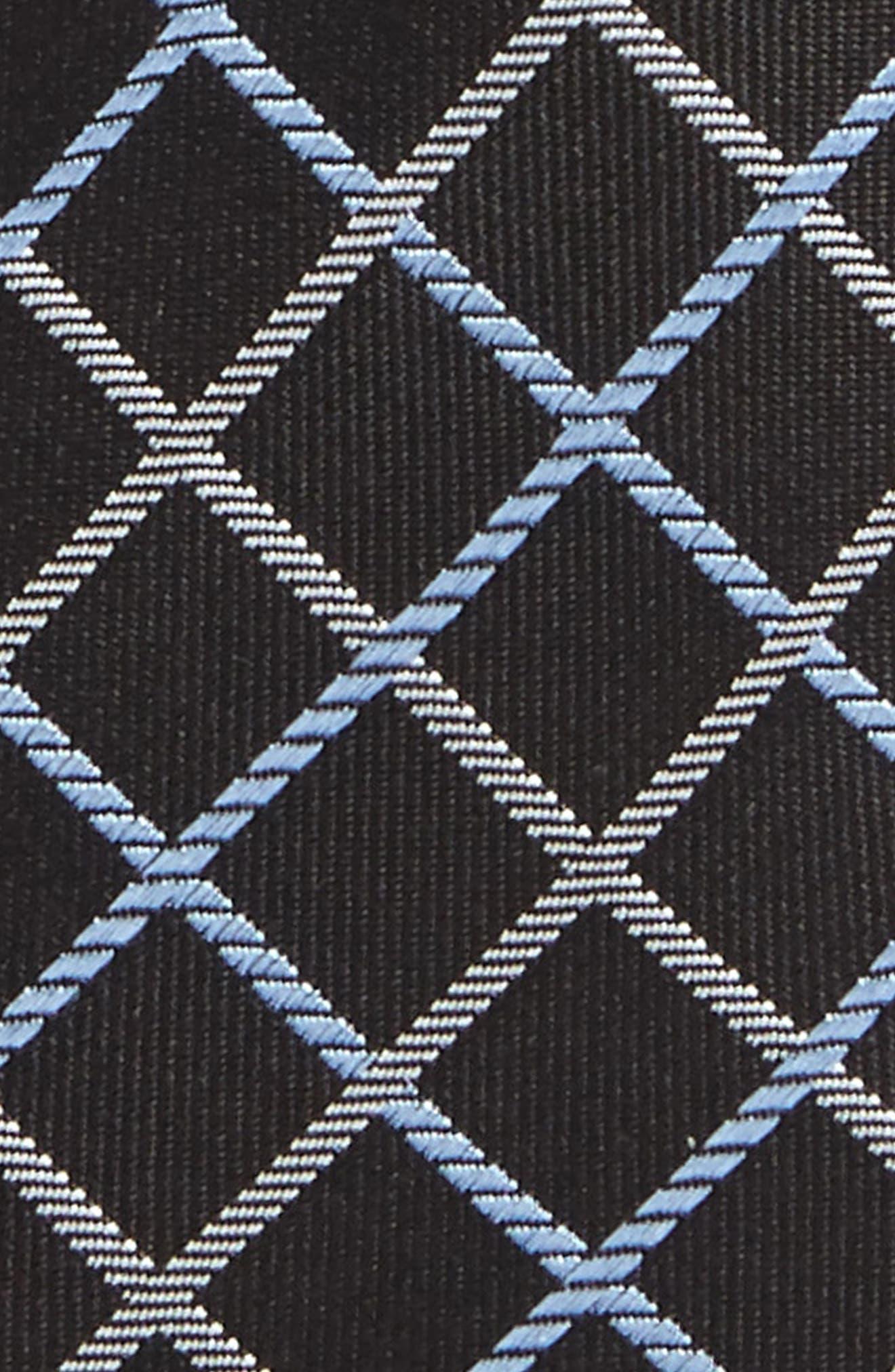 Check Silk Tie,                             Alternate thumbnail 2, color,                             Black-White