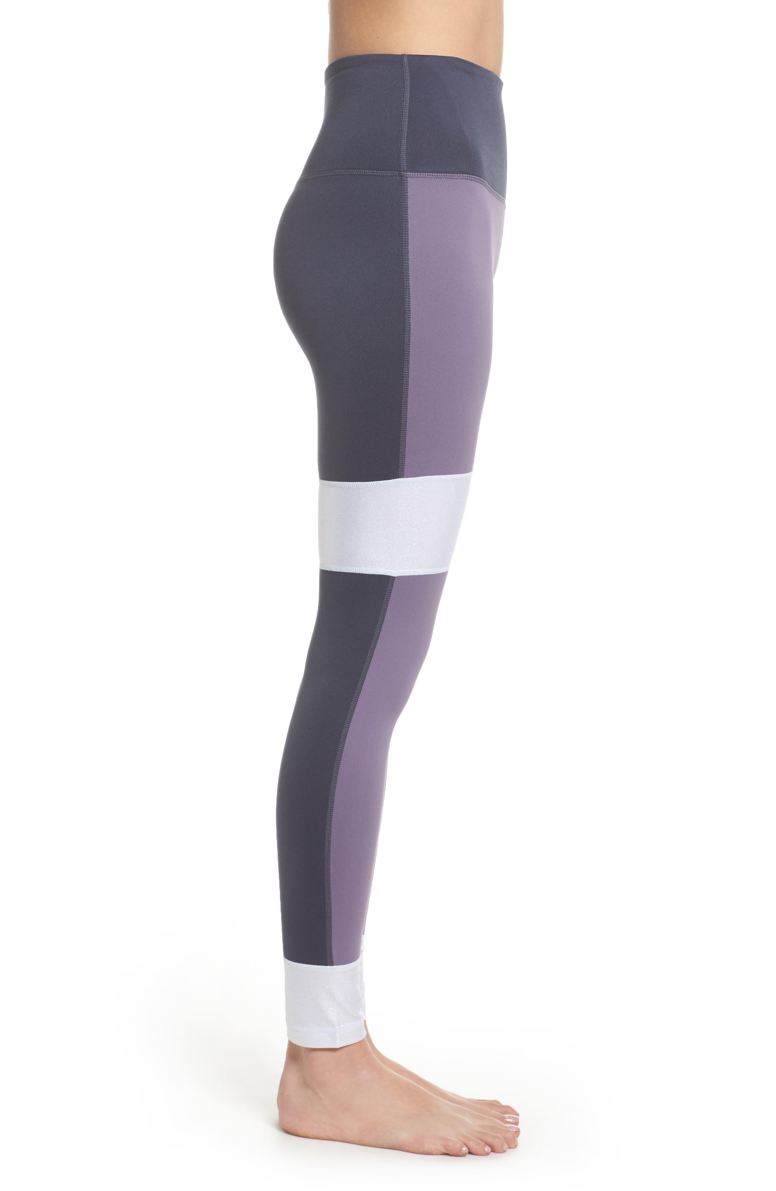 Around the Block High Waist Ankle Leggings,                             Alternate thumbnail 3, color,                             Purple Cadet