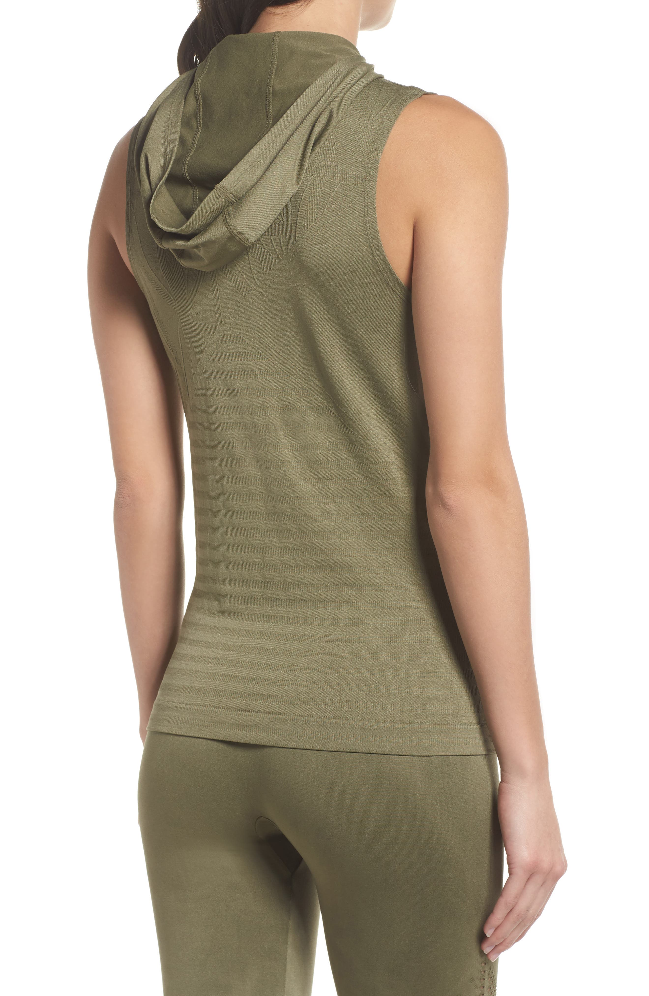Velocity Sleeveless Hoodie,                             Alternate thumbnail 2, color,                             Deep Lichen Green