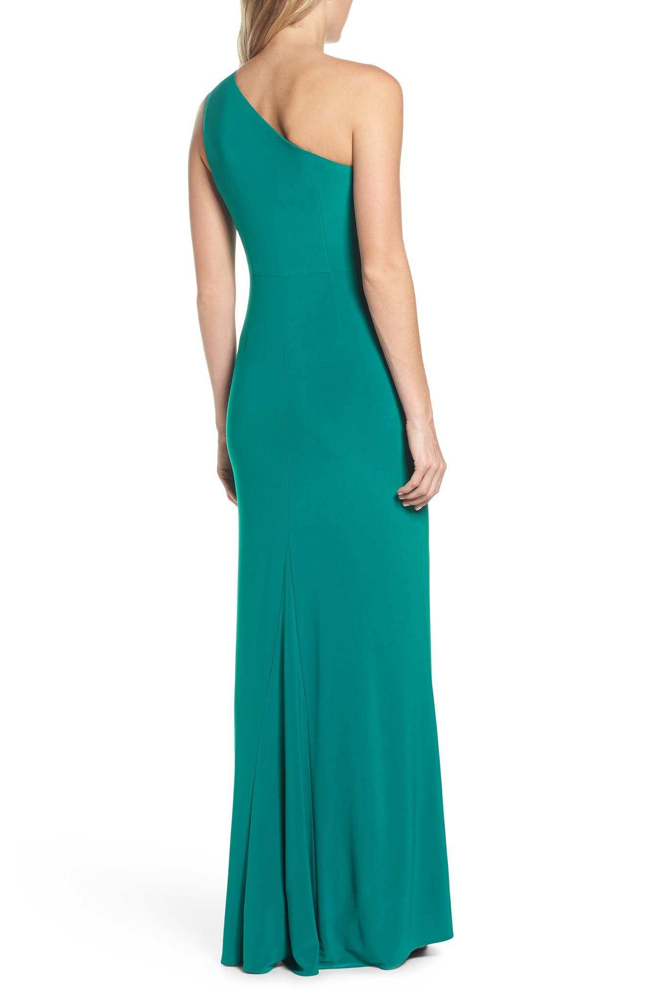 Alternate Image 2  - Adrianna Papell One-Shoulder Jersey Gown