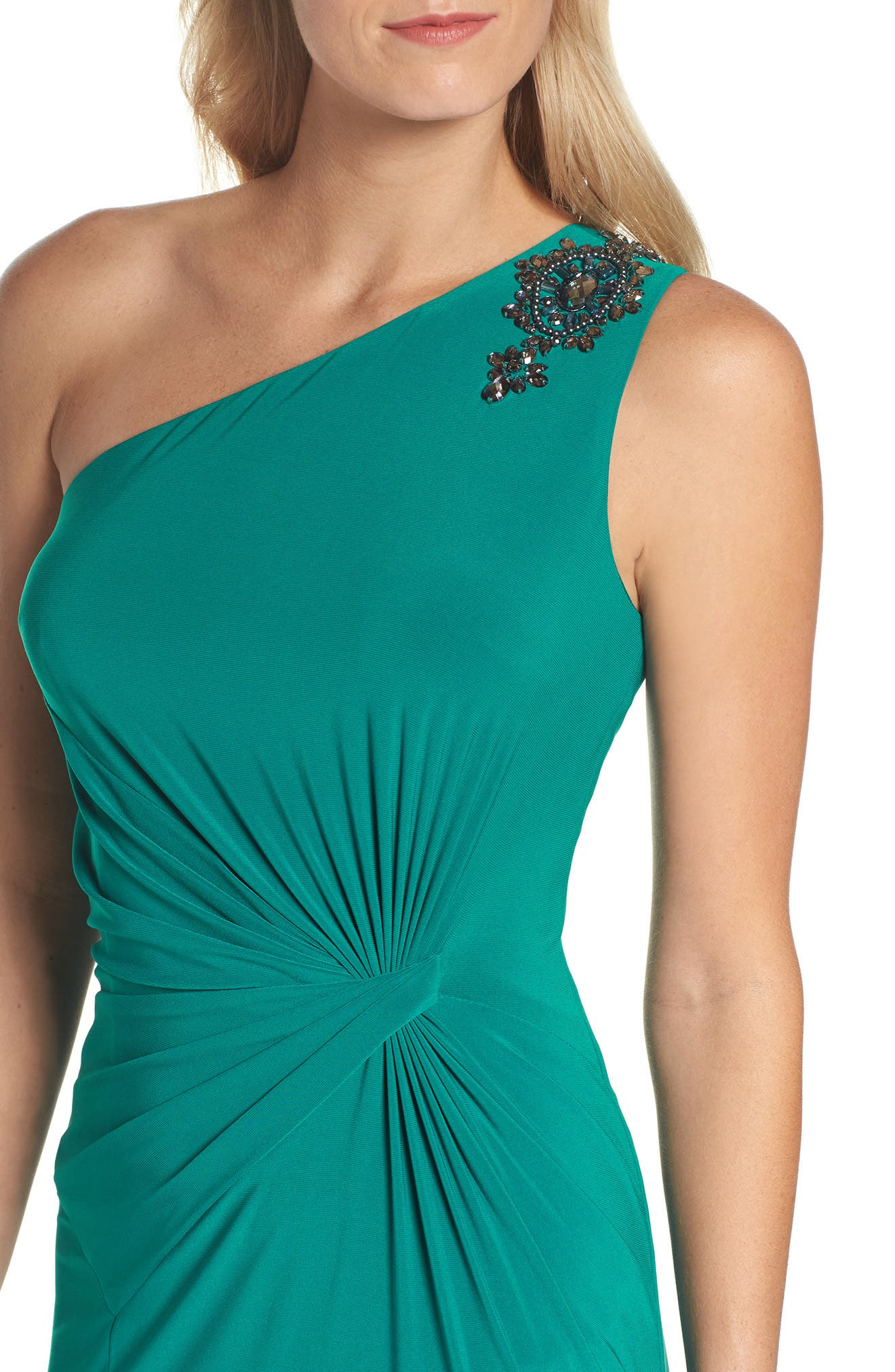 Alternate Image 4  - Adrianna Papell One-Shoulder Jersey Gown