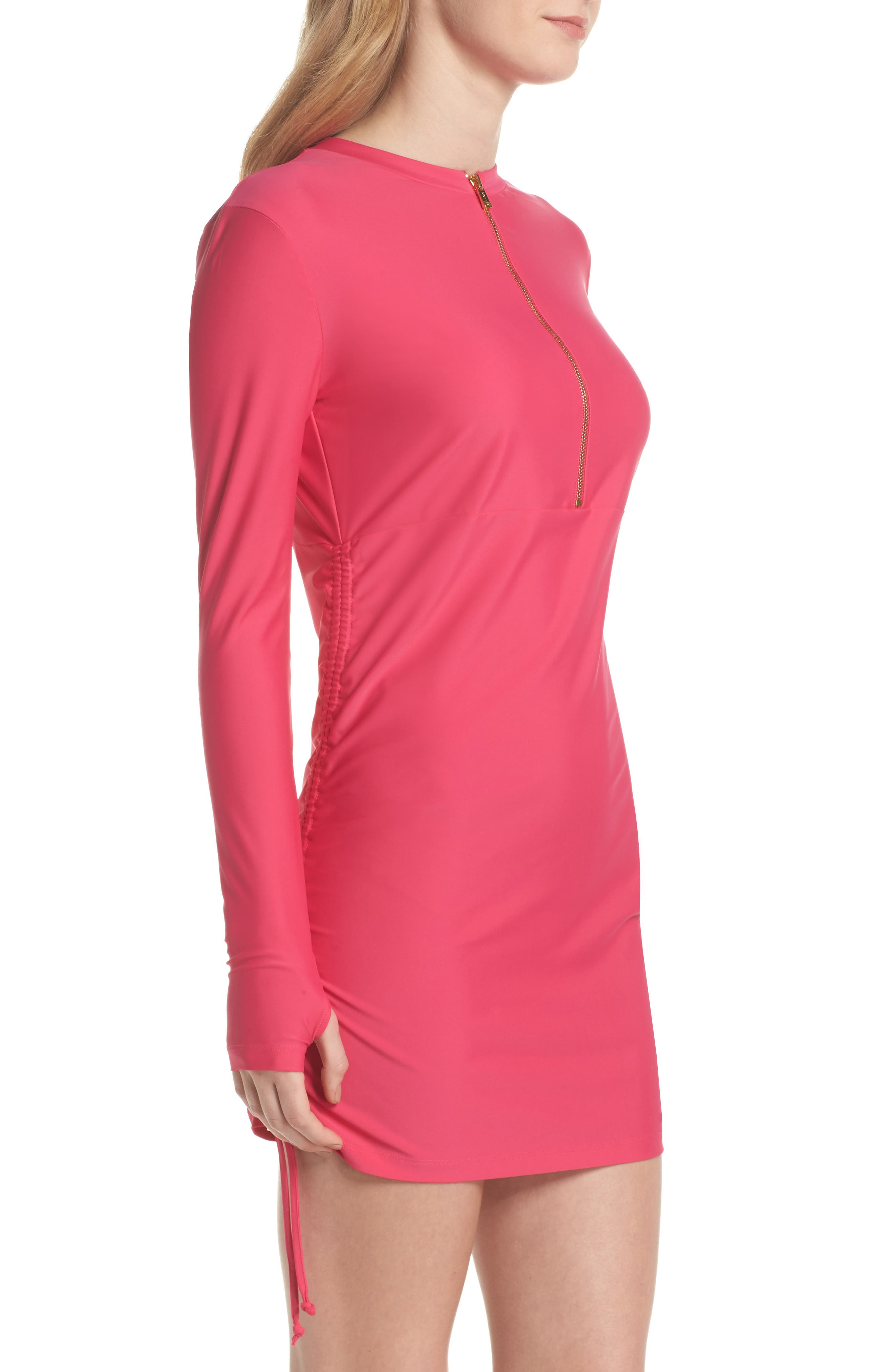 Sonja UPF 50 Cover-Up Swim Dress,                             Alternate thumbnail 3, color,                             Fuchsia