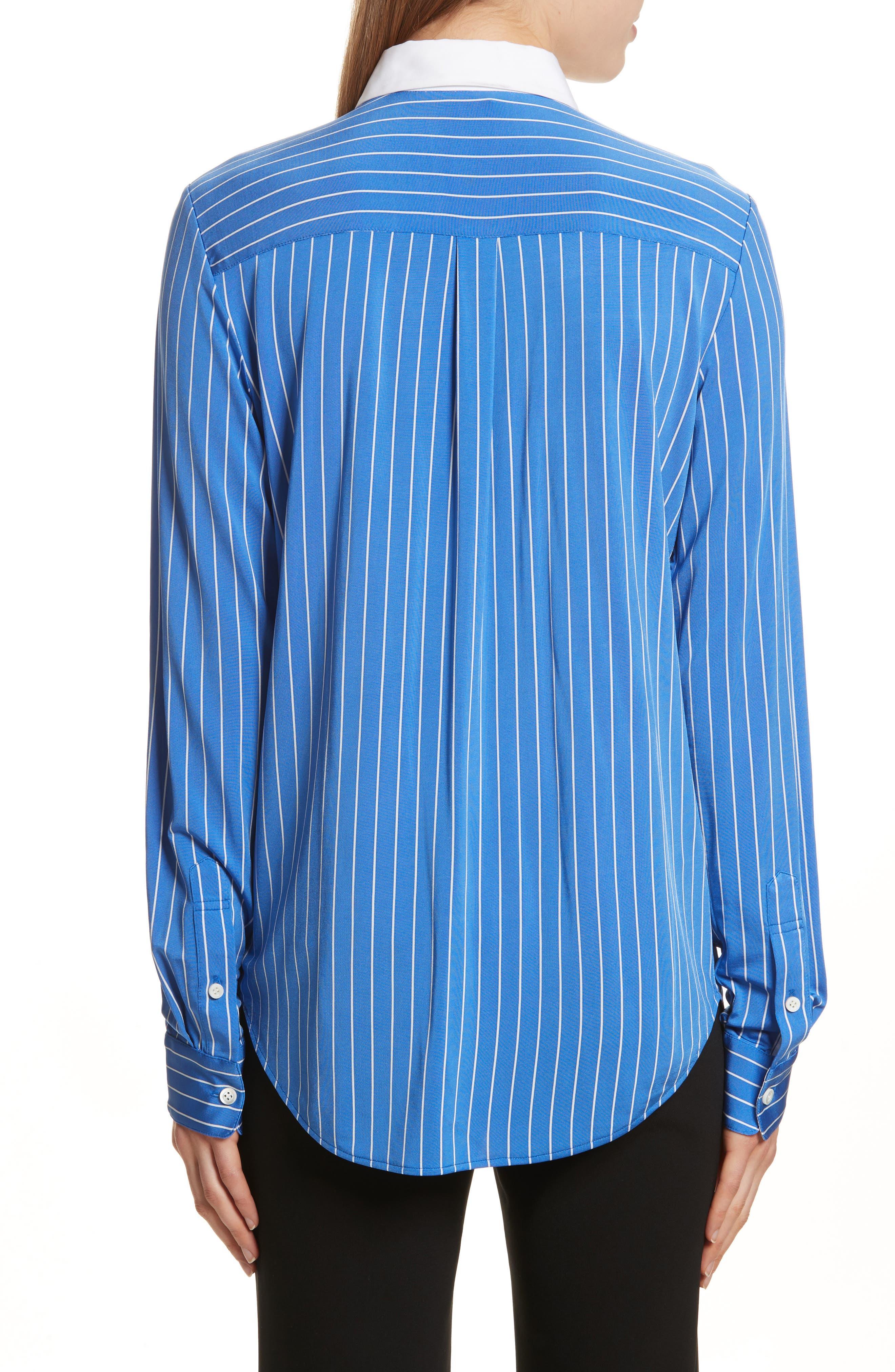 Essential Stripe Jersey Button Down Shirt,                             Alternate thumbnail 2, color,                             Blue/ White
