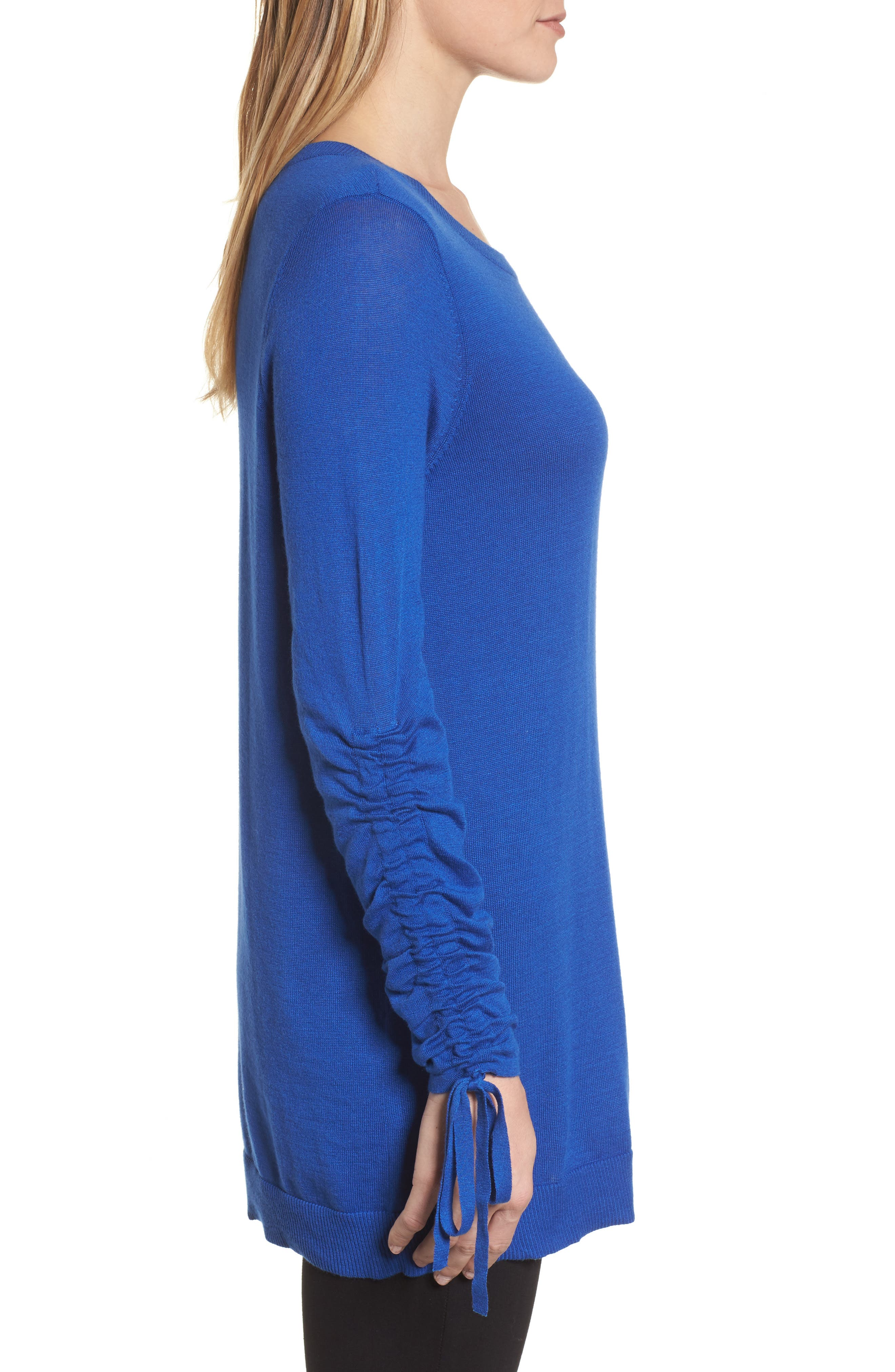 Ruched Sleeve Tunic Sweater,                             Alternate thumbnail 3, color,                             Blue Surf