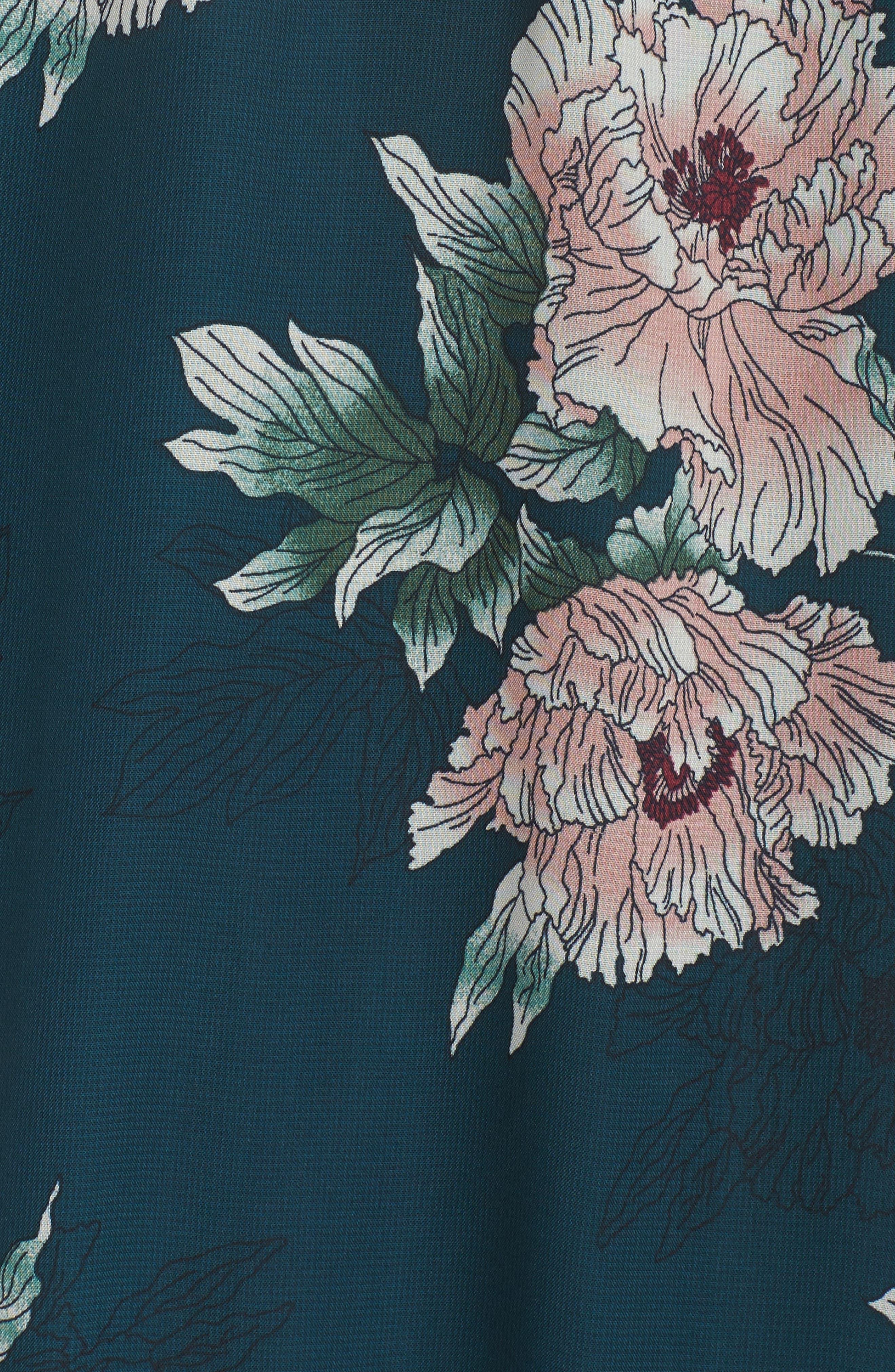 Floral Midi Dress,                             Alternate thumbnail 5, color,                             Pine