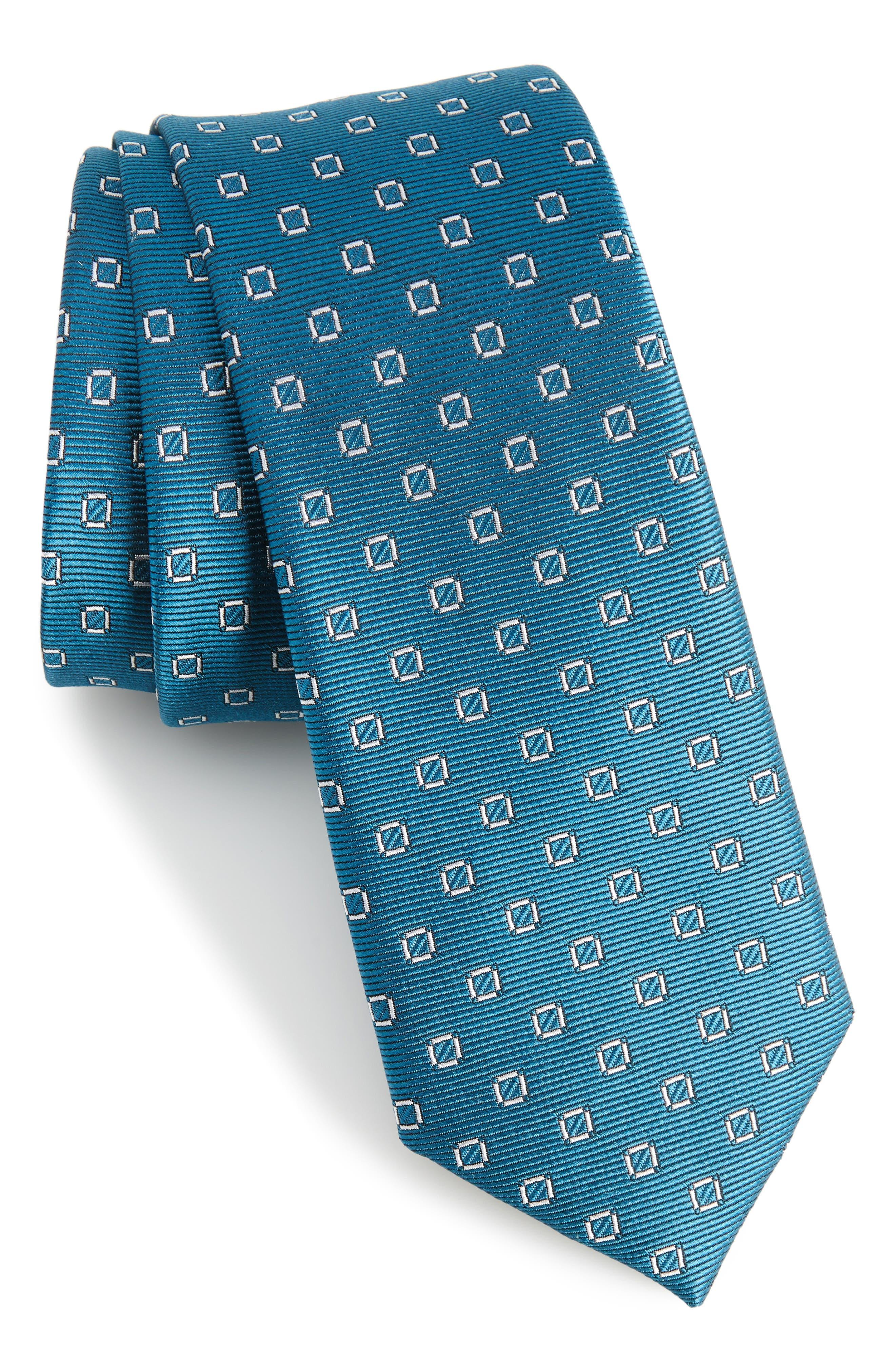 Junction Geo Silk Skinny Tie,                             Main thumbnail 1, color,                             Teal