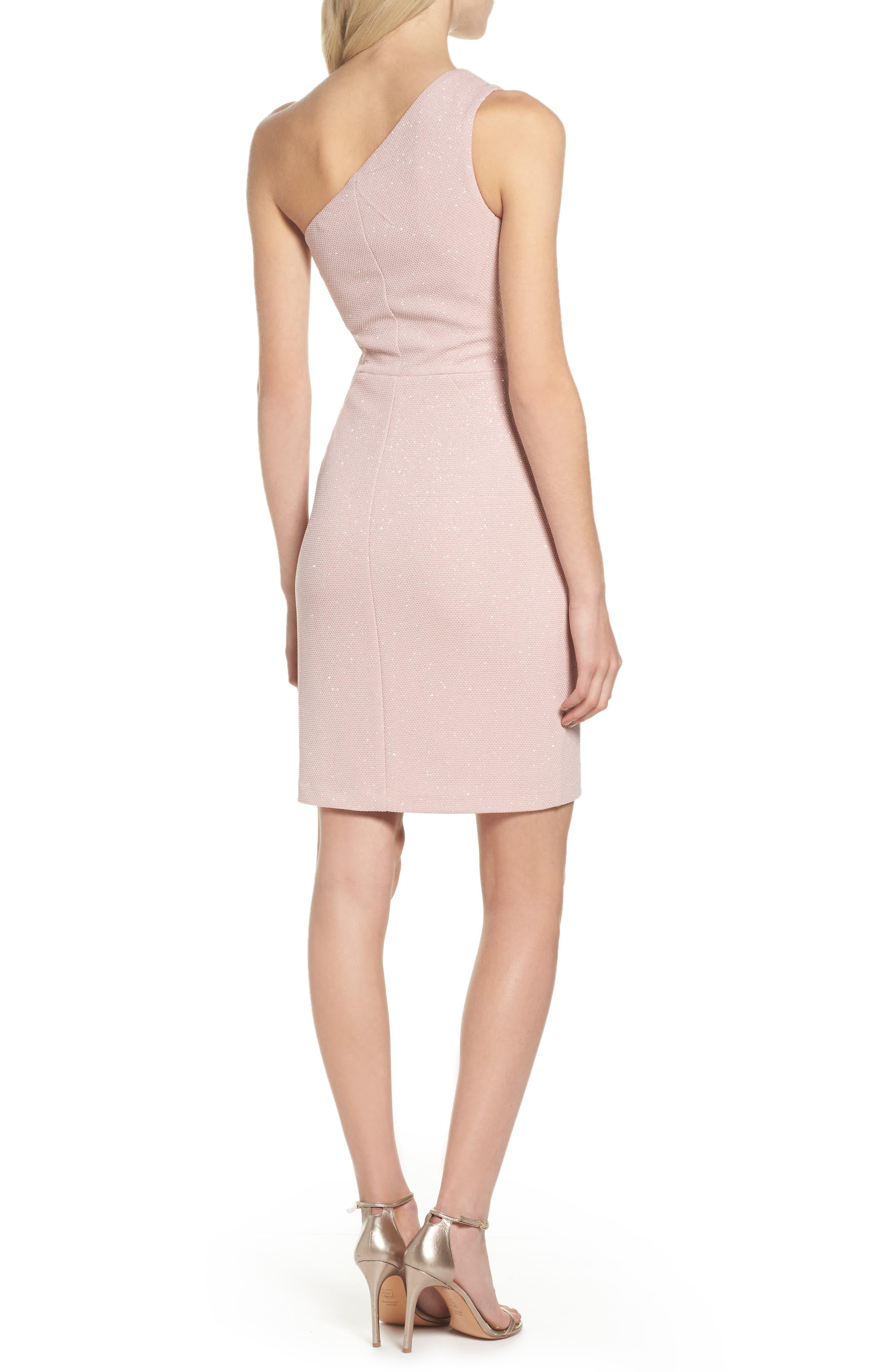 Glitter One-Shoulder Sheath Dress,                             Alternate thumbnail 2, color,                             Blush