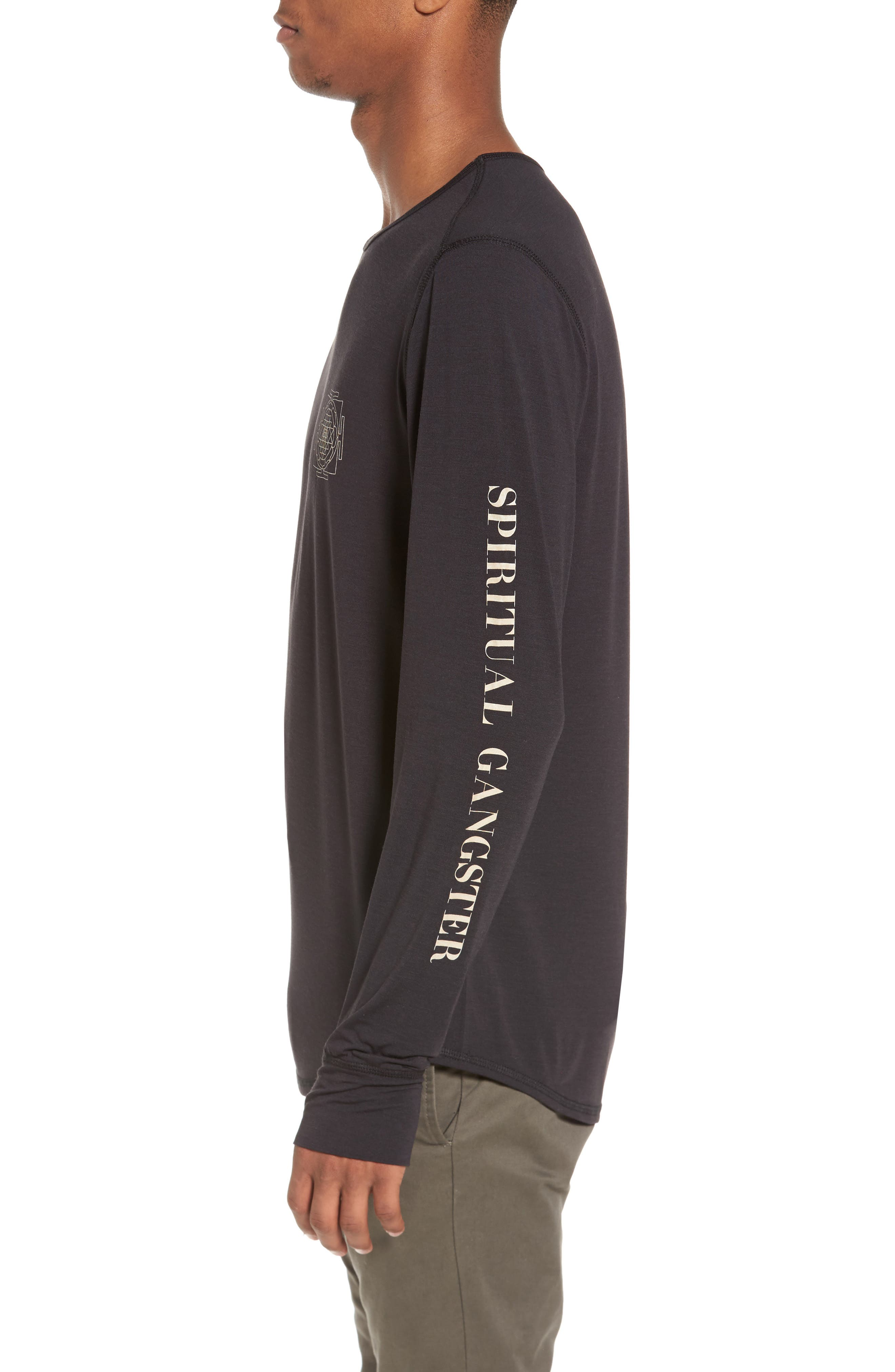 Yantra Wave T-Shirt,                             Alternate thumbnail 3, color,                             Black/ Black