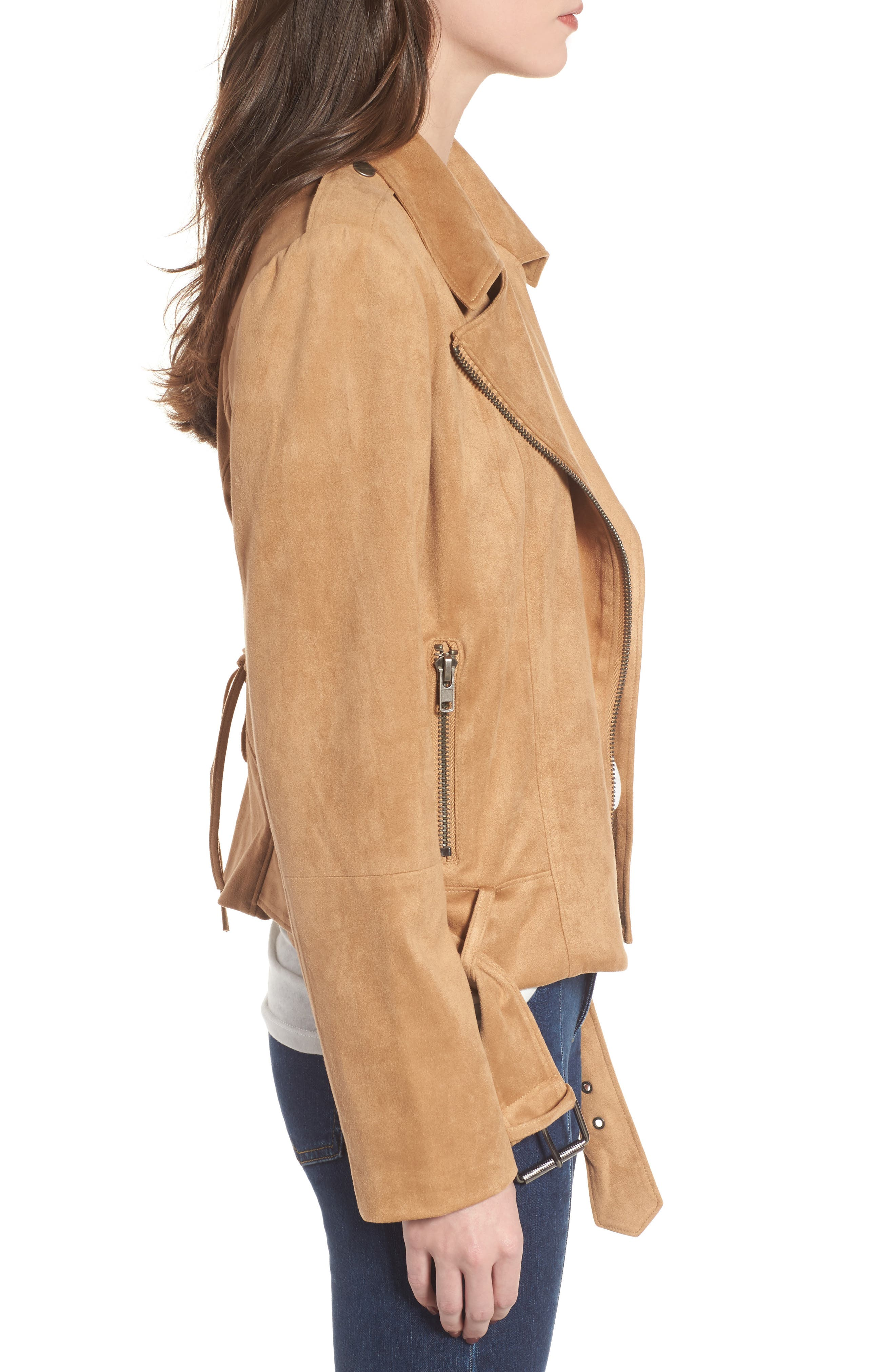 Nathan Faux Suede Jacket,                             Alternate thumbnail 3, color,                             Whiskey
