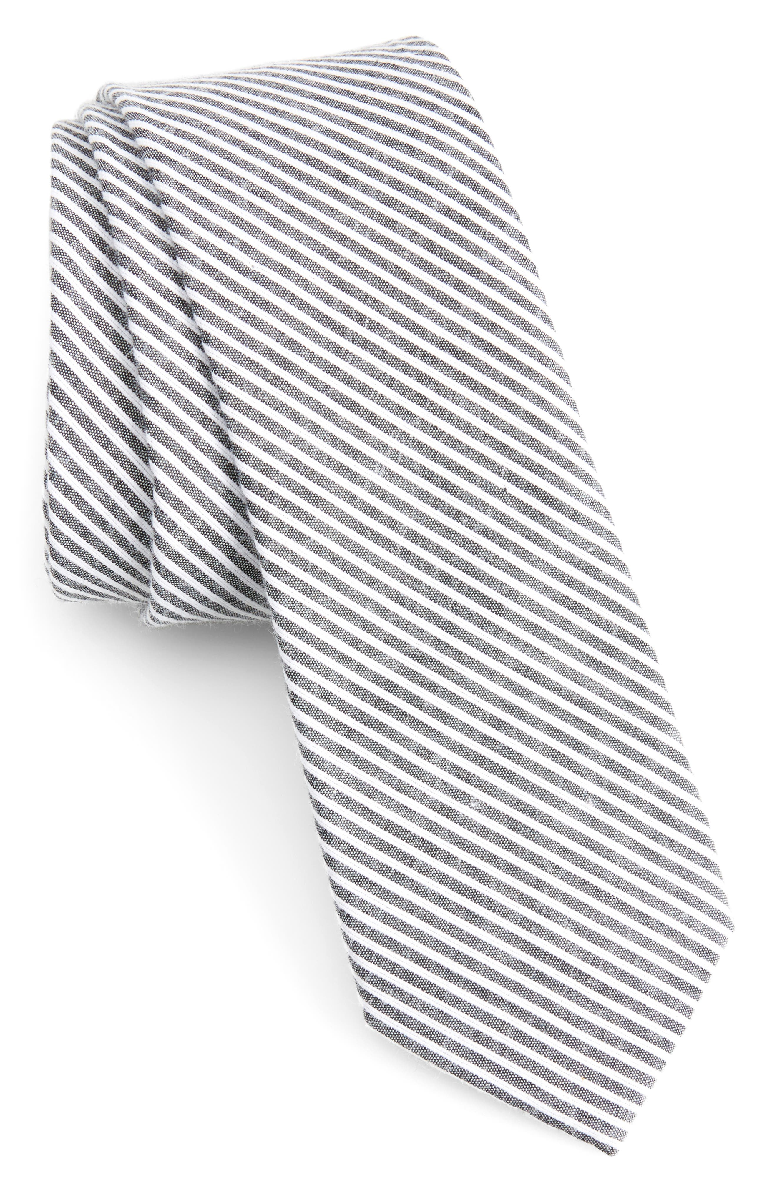Kenton Stripe Cotton Tie,                             Main thumbnail 1, color,                             Black