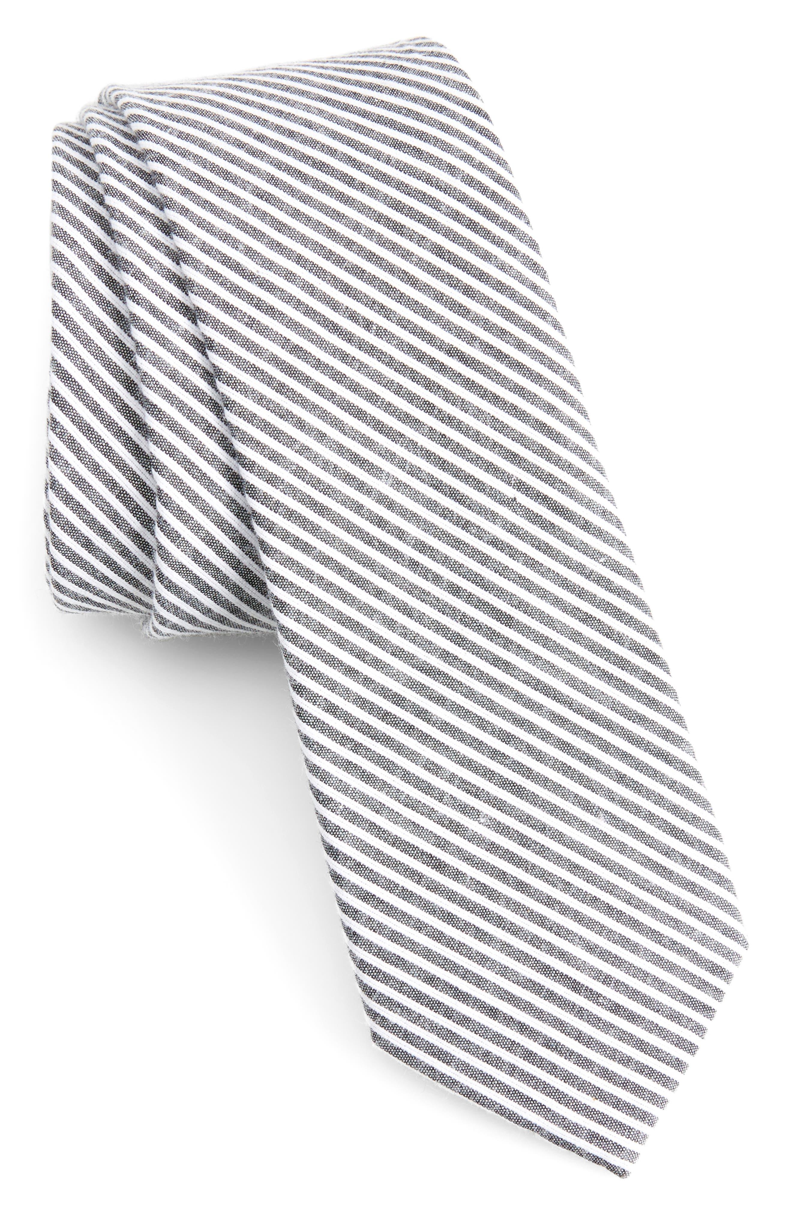 Kenton Stripe Cotton Tie,                         Main,                         color, Black