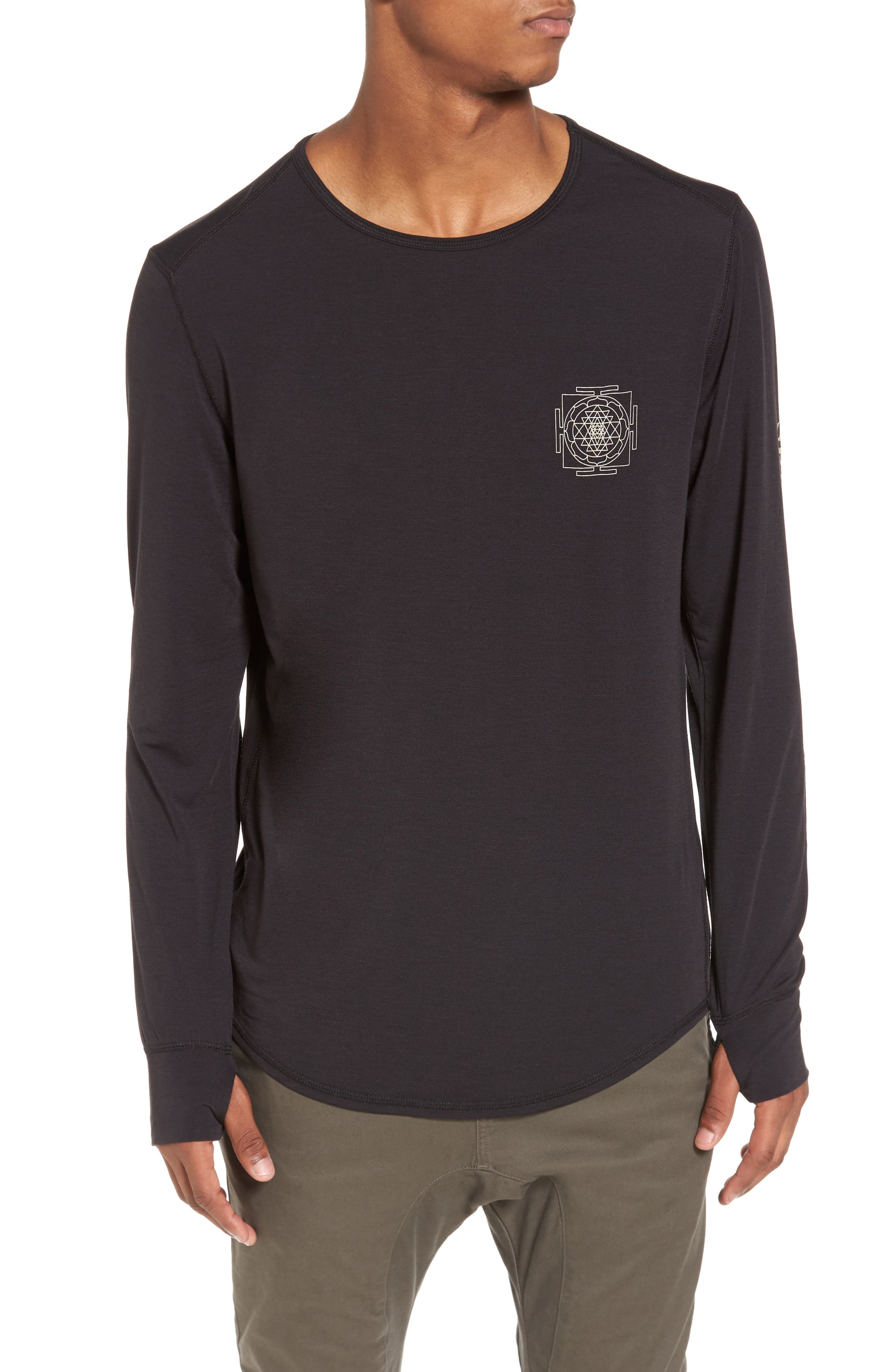 Yantra Wave T-Shirt,                         Main,                         color, Black/ Black