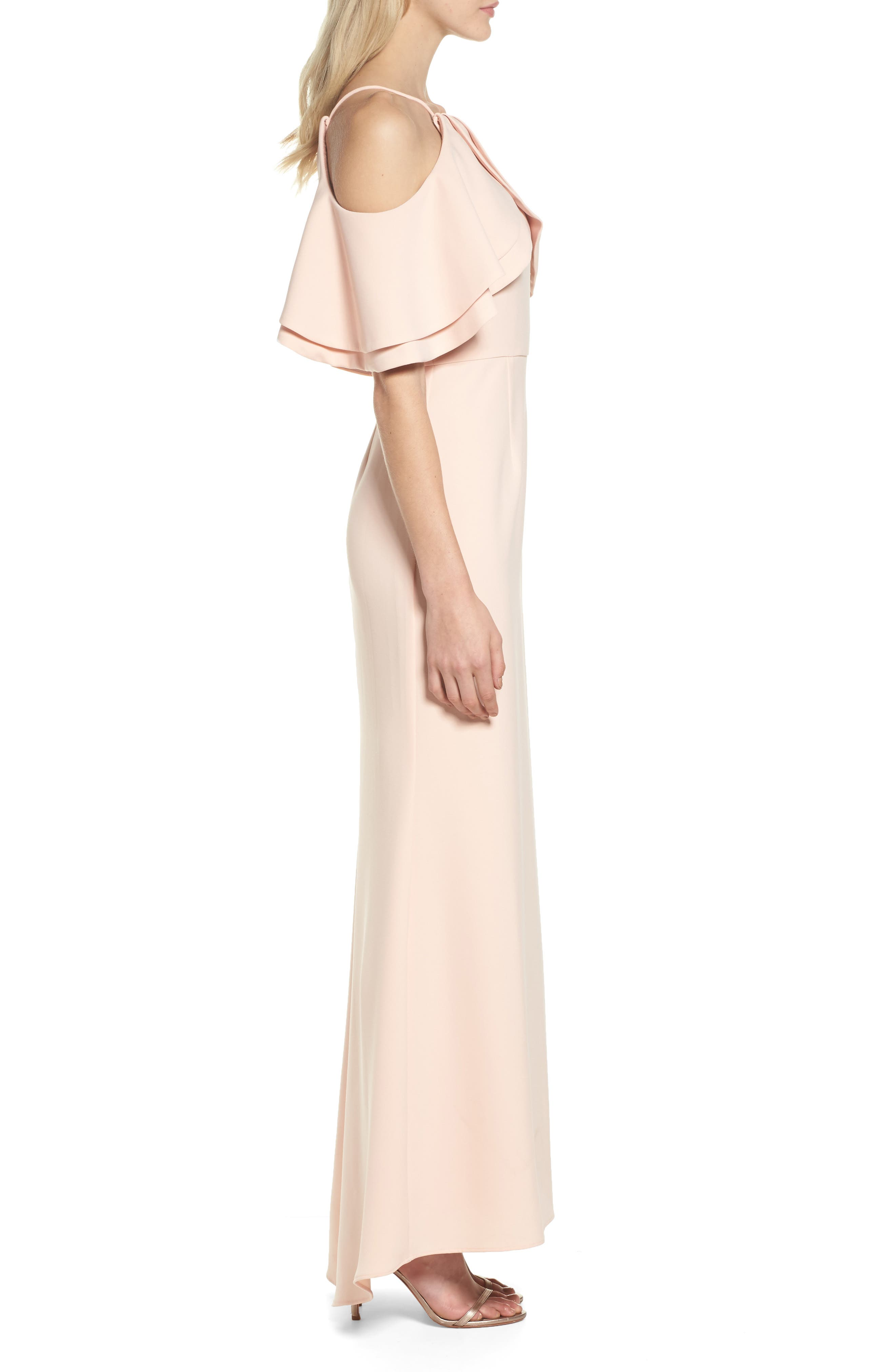 Ruffle Bodice Cold Shoulder Gown,                             Alternate thumbnail 3, color,                             Blush