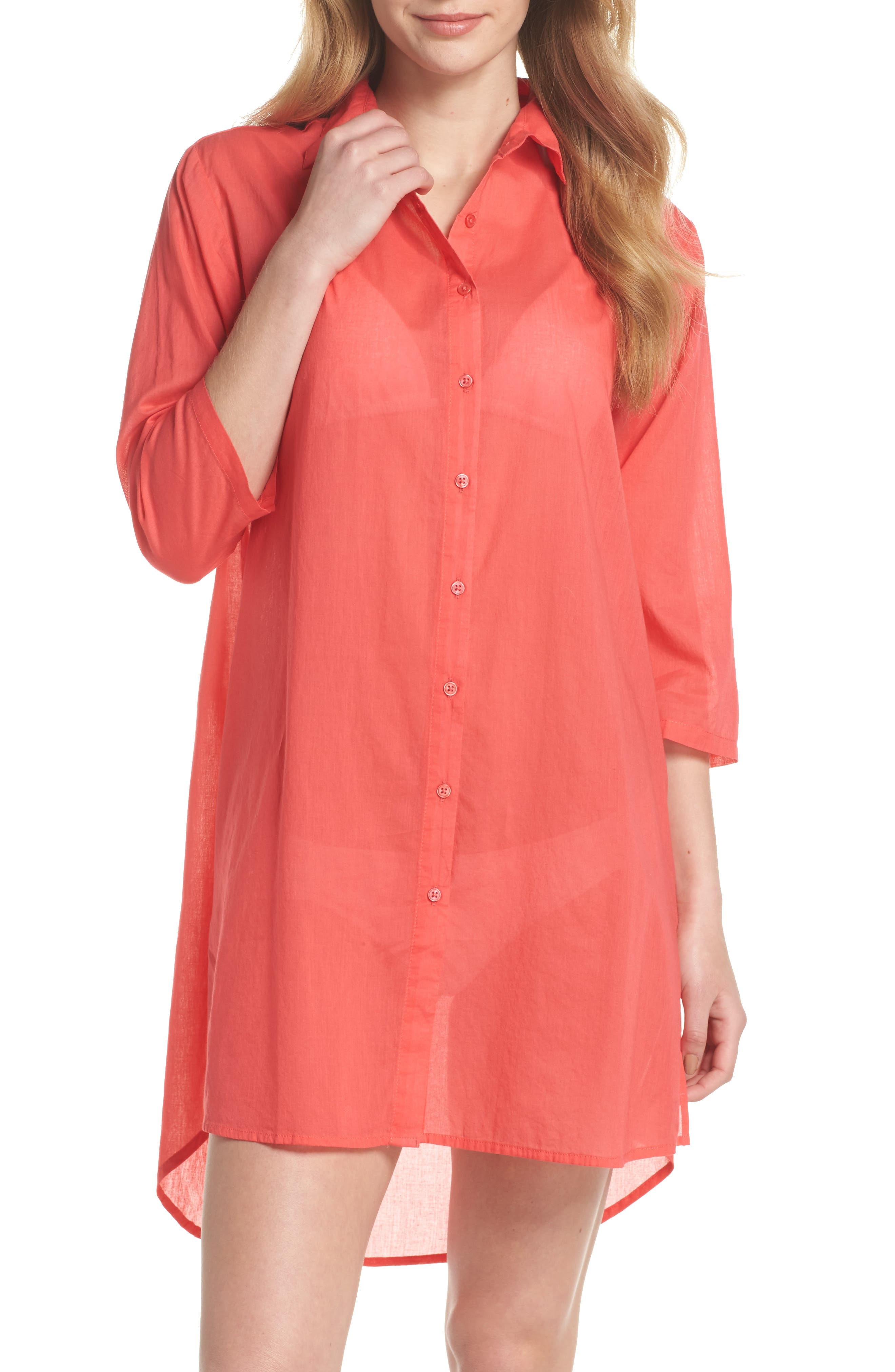 Solid Cover-Up Dress,                             Main thumbnail 1, color,                             Hibiscus