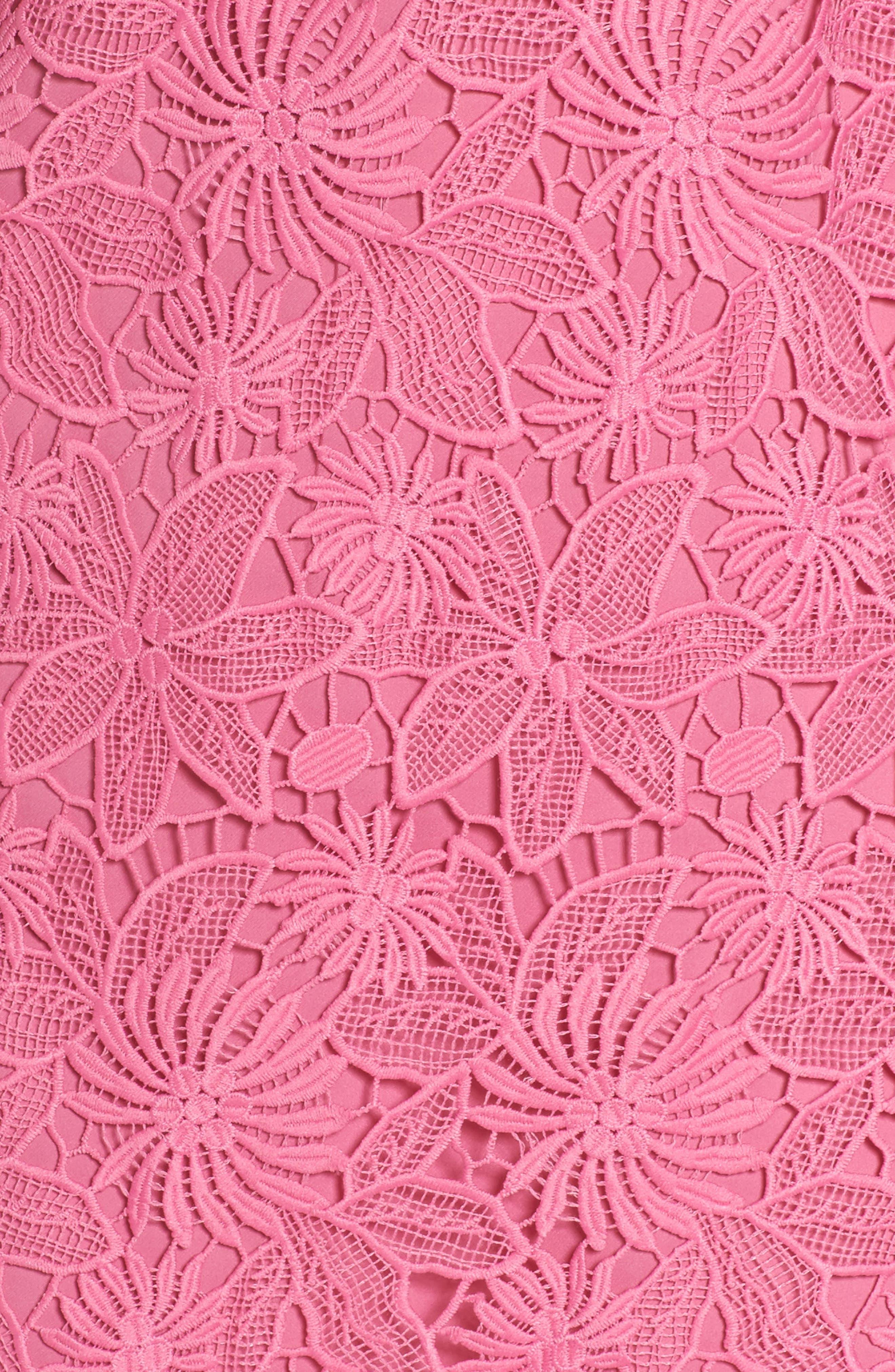 Edna Cold Shoulder Lace Dress,                             Alternate thumbnail 5, color,                             Tulip