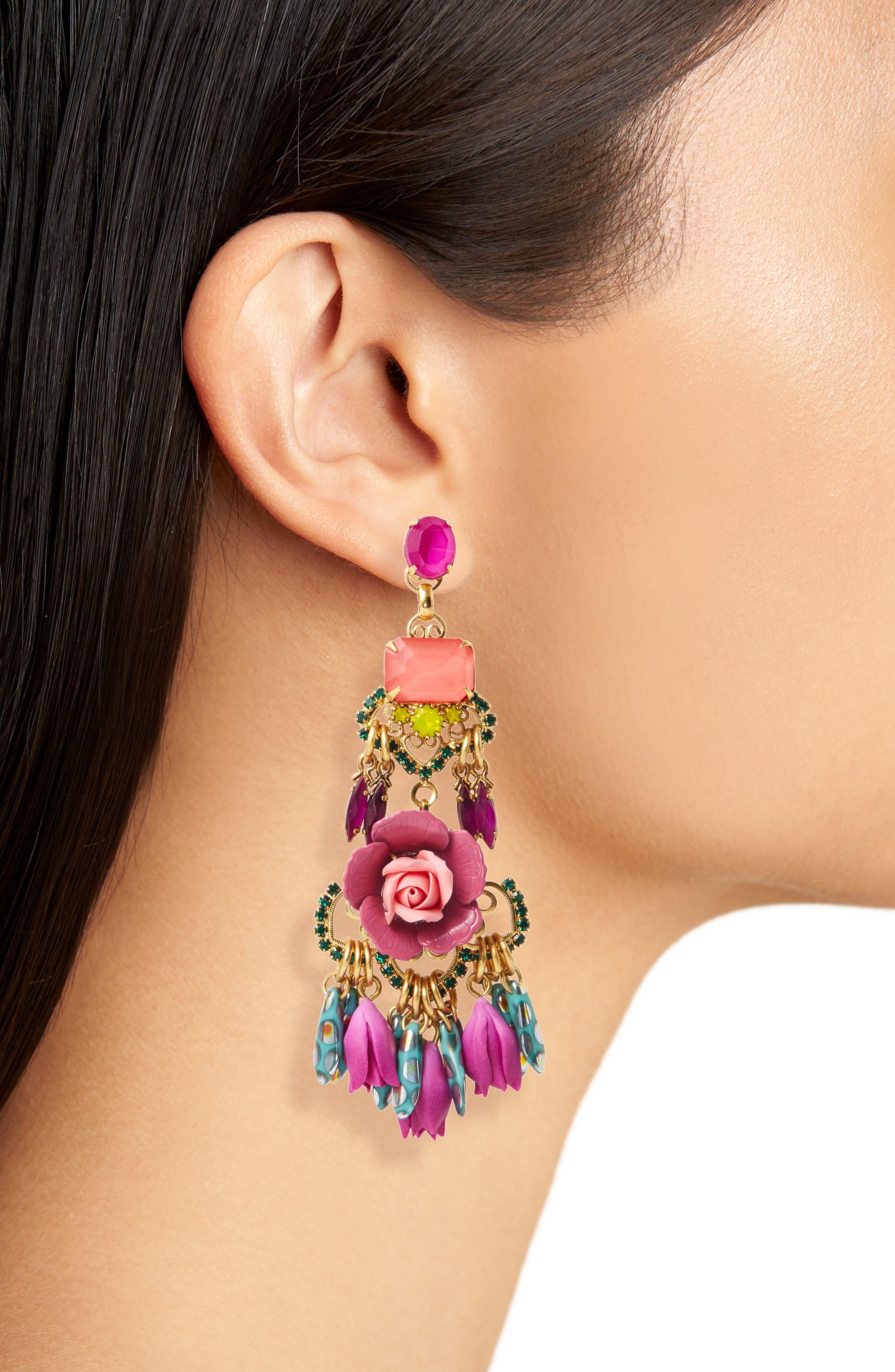 Alternate Image 2  - Elizabeth Cole Burke Floral Drop Earrings